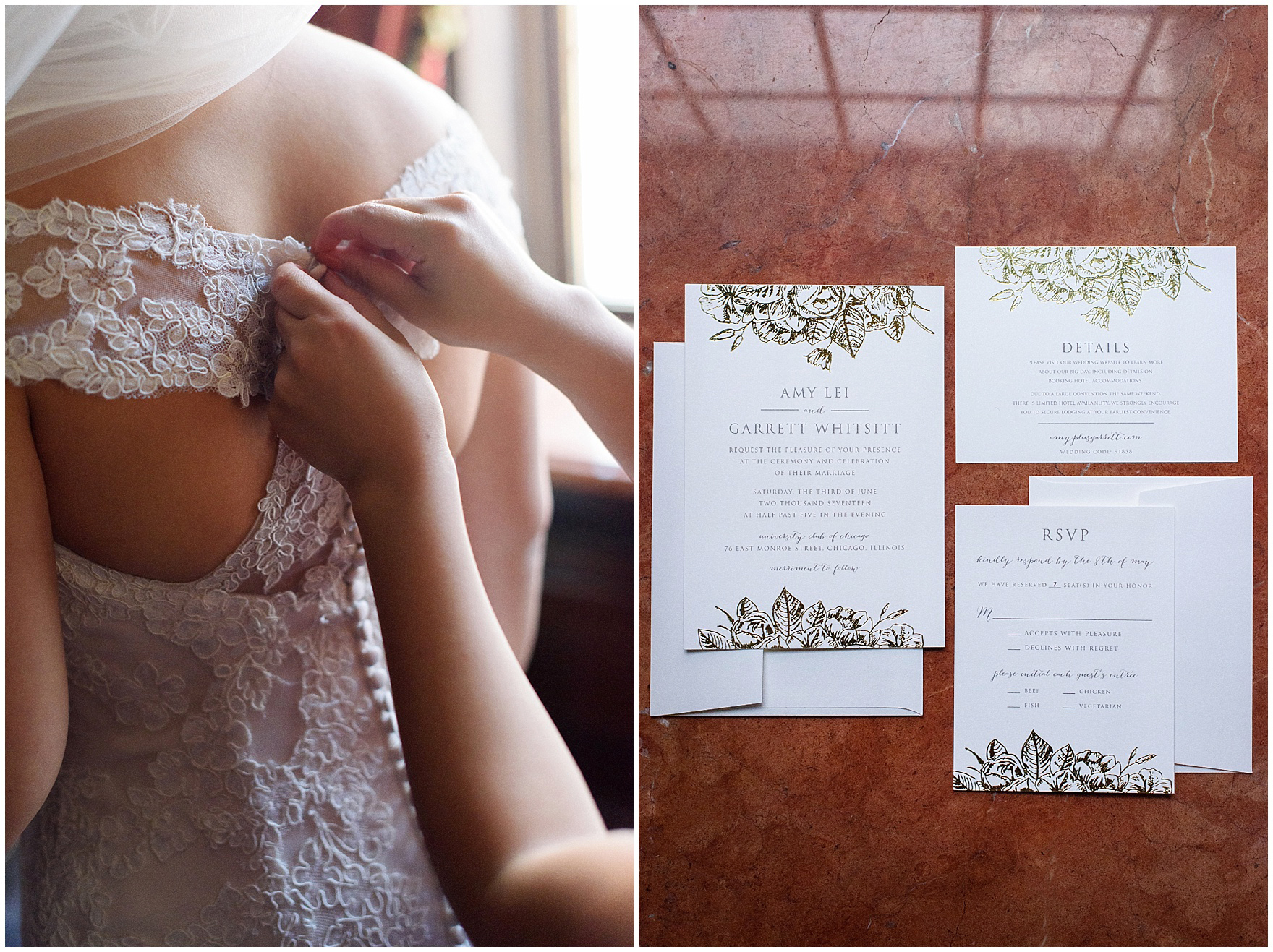 Details of a bride's lace gown and gold foil invitation suite before a University Club of Chicago wedding.