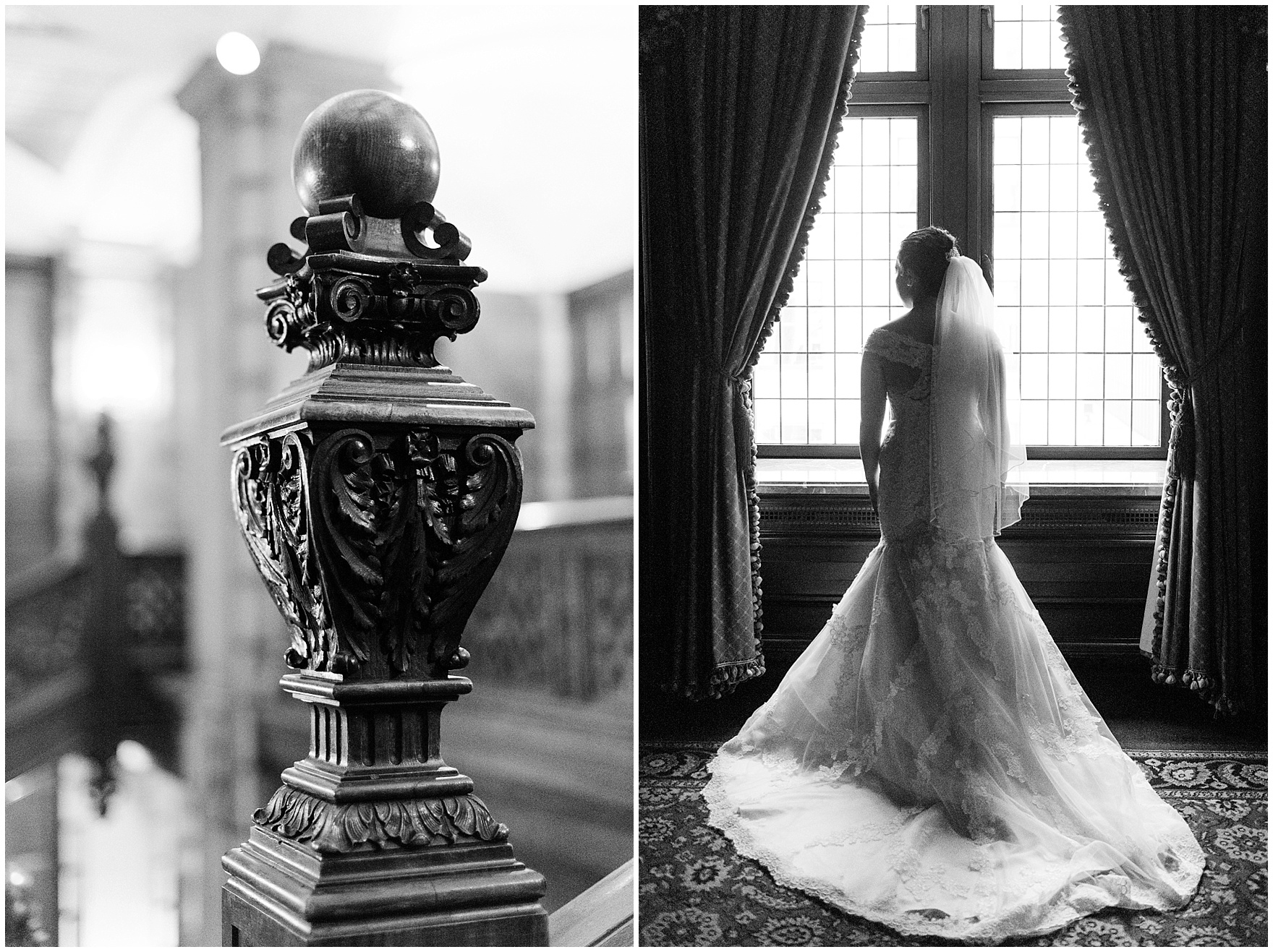 The bride stands at the window in her wedding dress before a University Club of Chicago wedding.