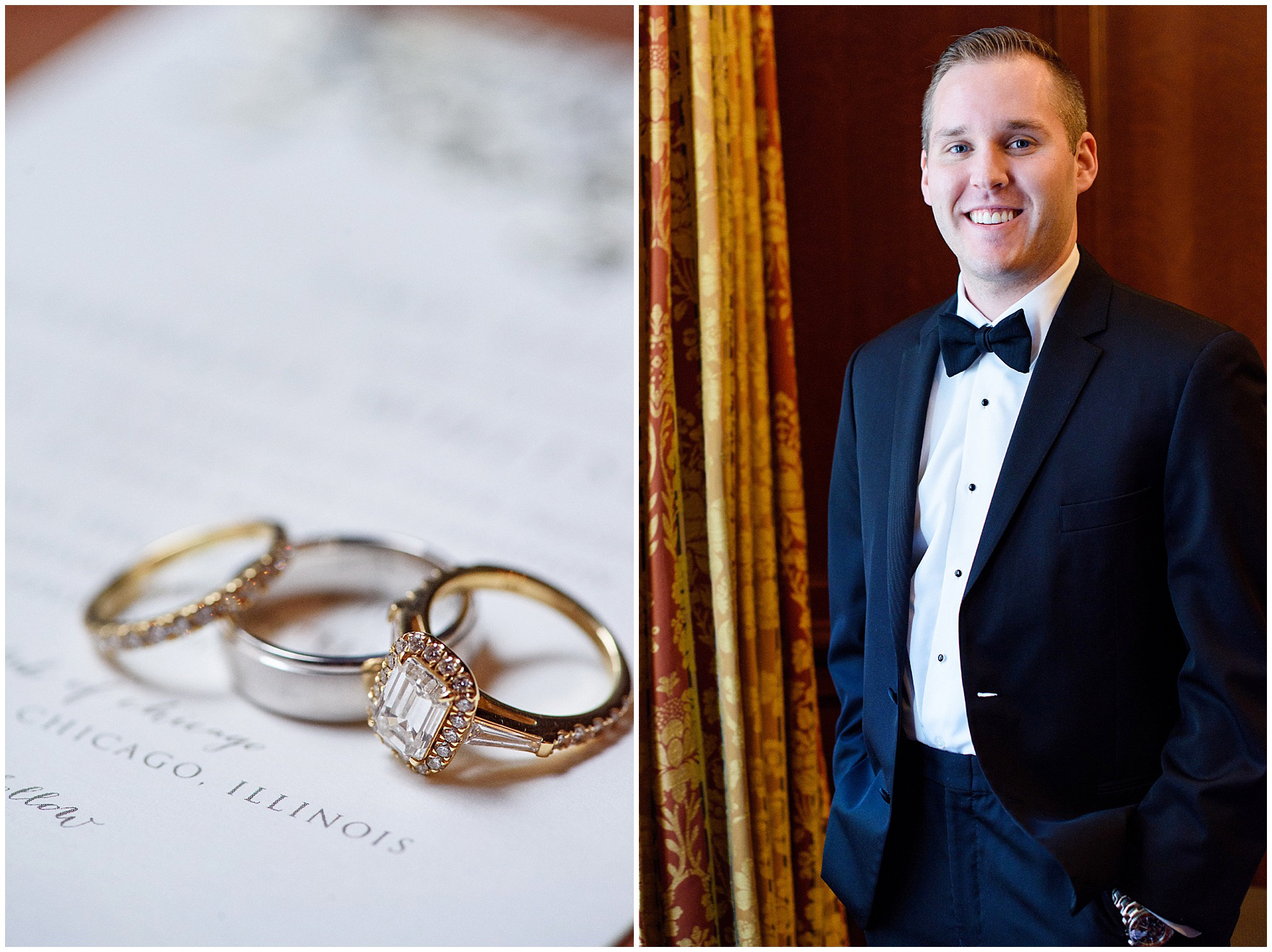 The groom smiles before a University Club of Chicago wedding.
