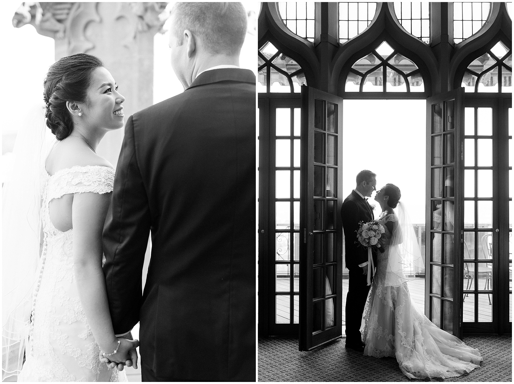 The bride and groom pose on the terrace before their University Club of Chicago wedding.