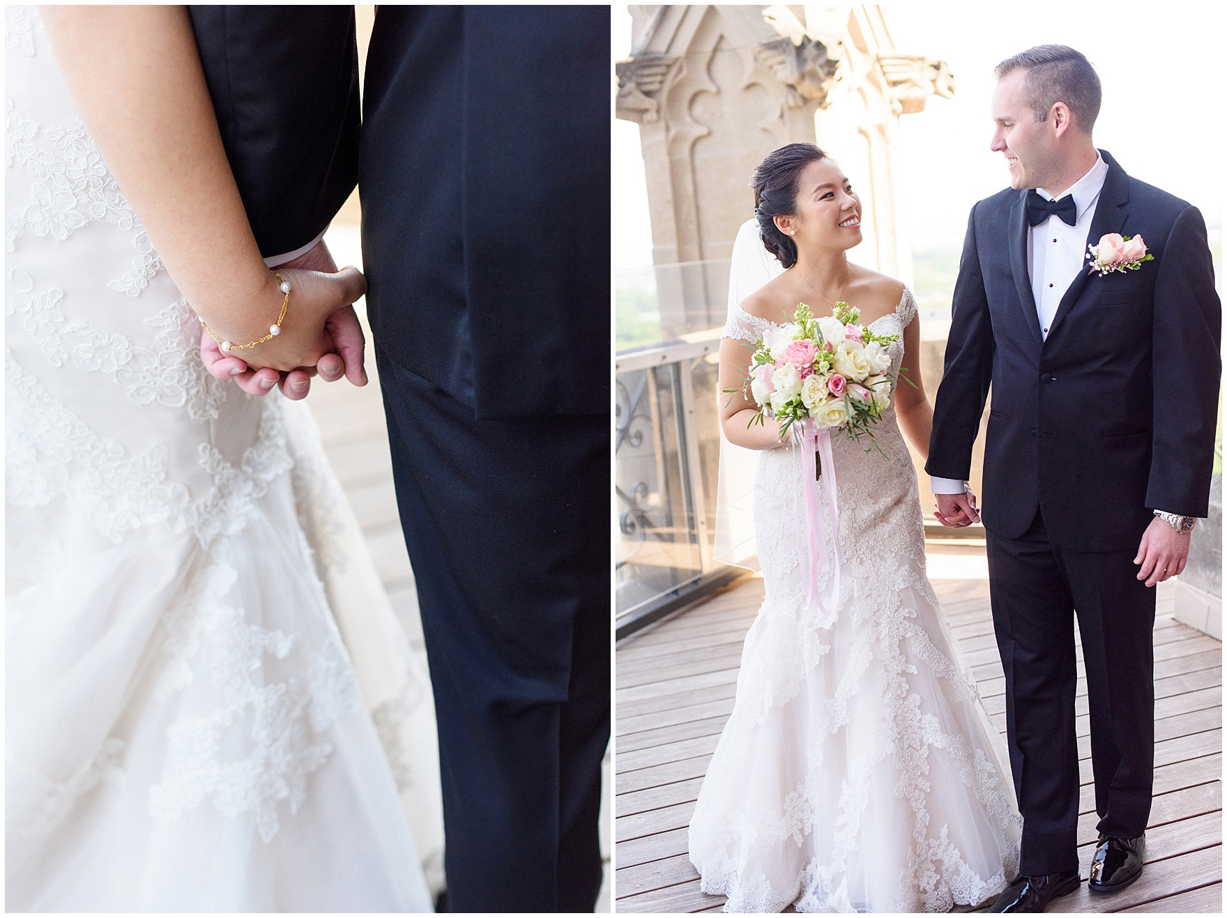 The bride and groom hold hands before their University Club of Chicago wedding.