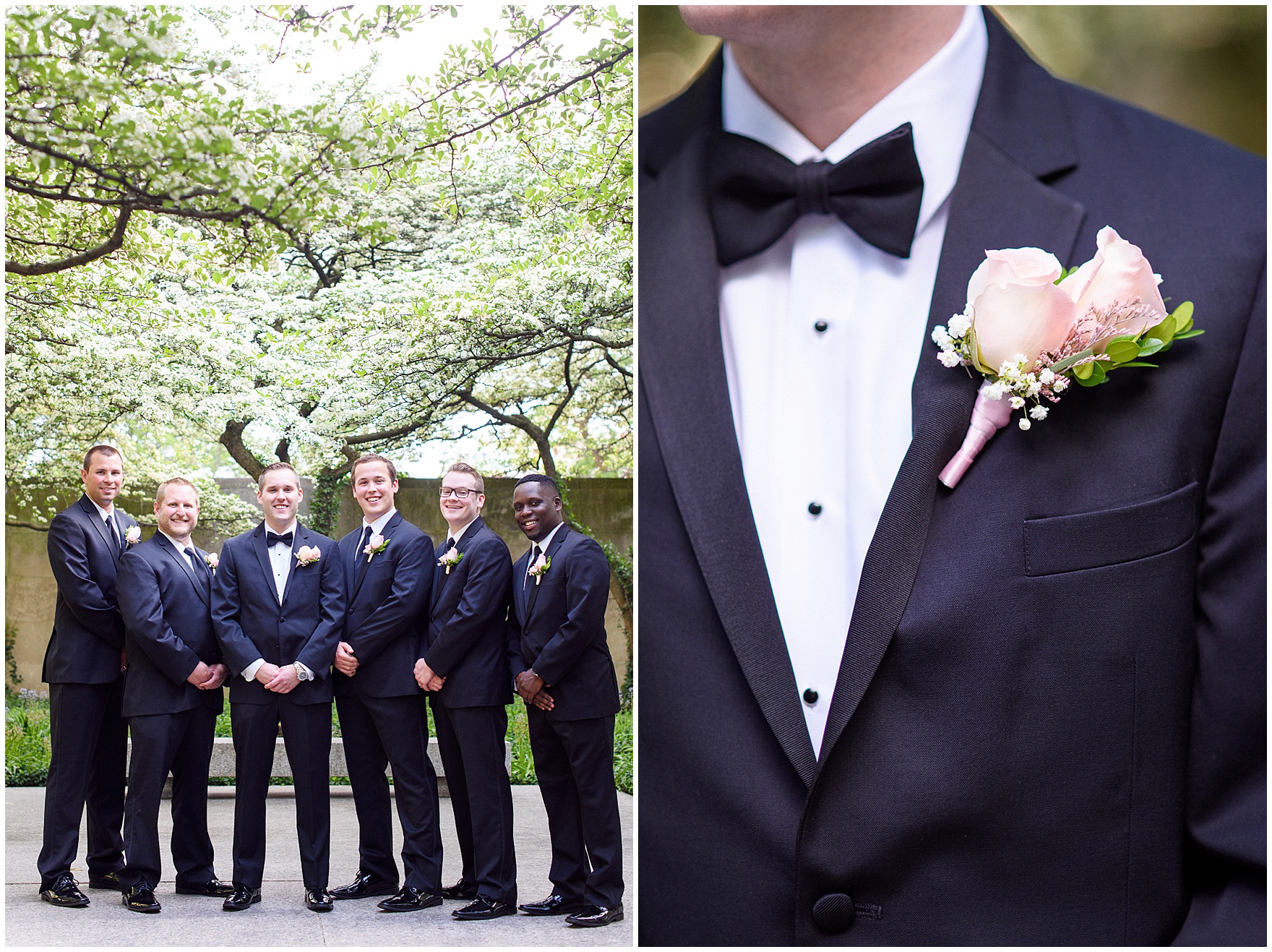 Groomsmen pose in the South Gardens of the Art Institute of Chicago before a University Club of Chicago wedding.