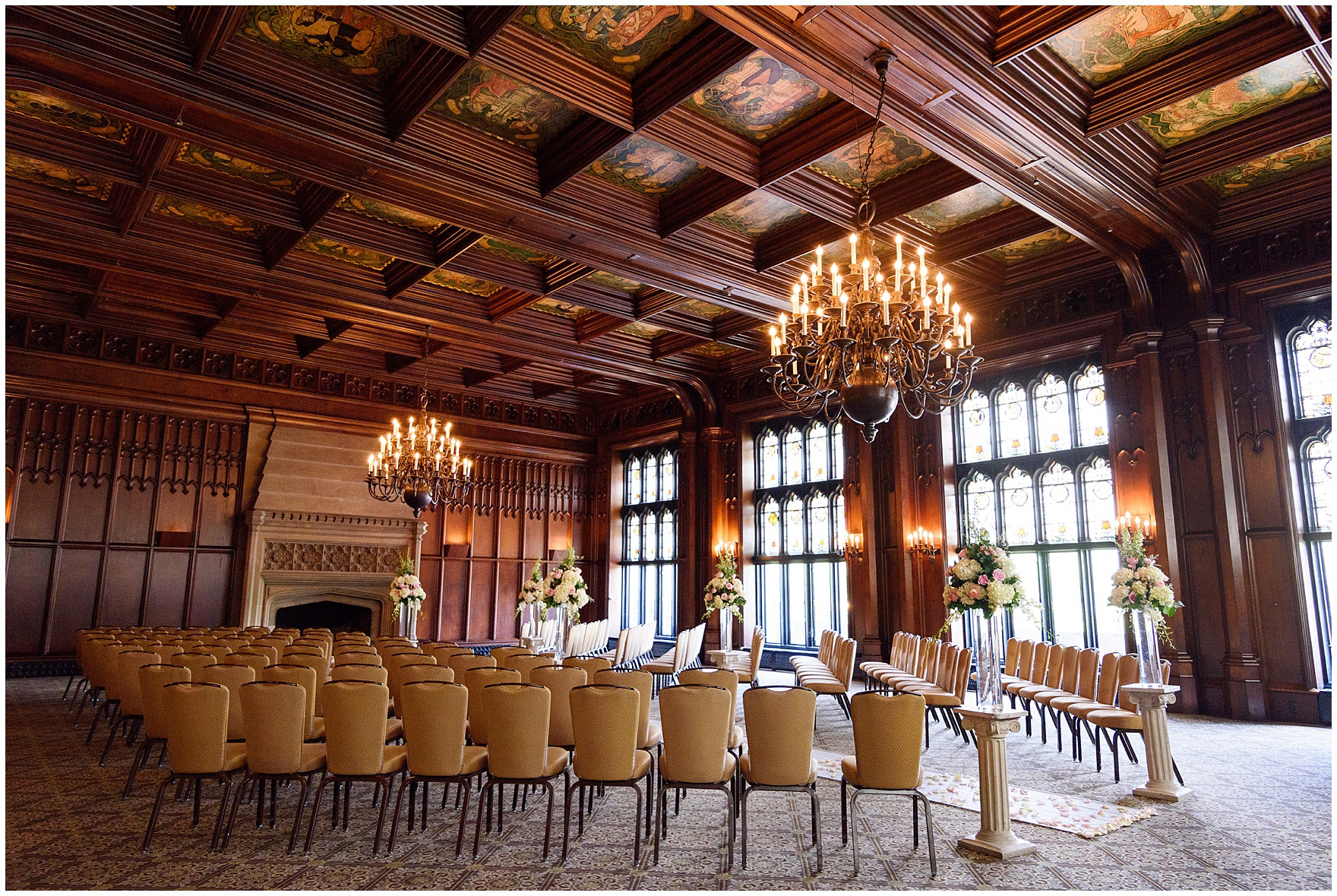 The Michigan Room set up for a wedding ceremony for a University Club of Chicago wedding.