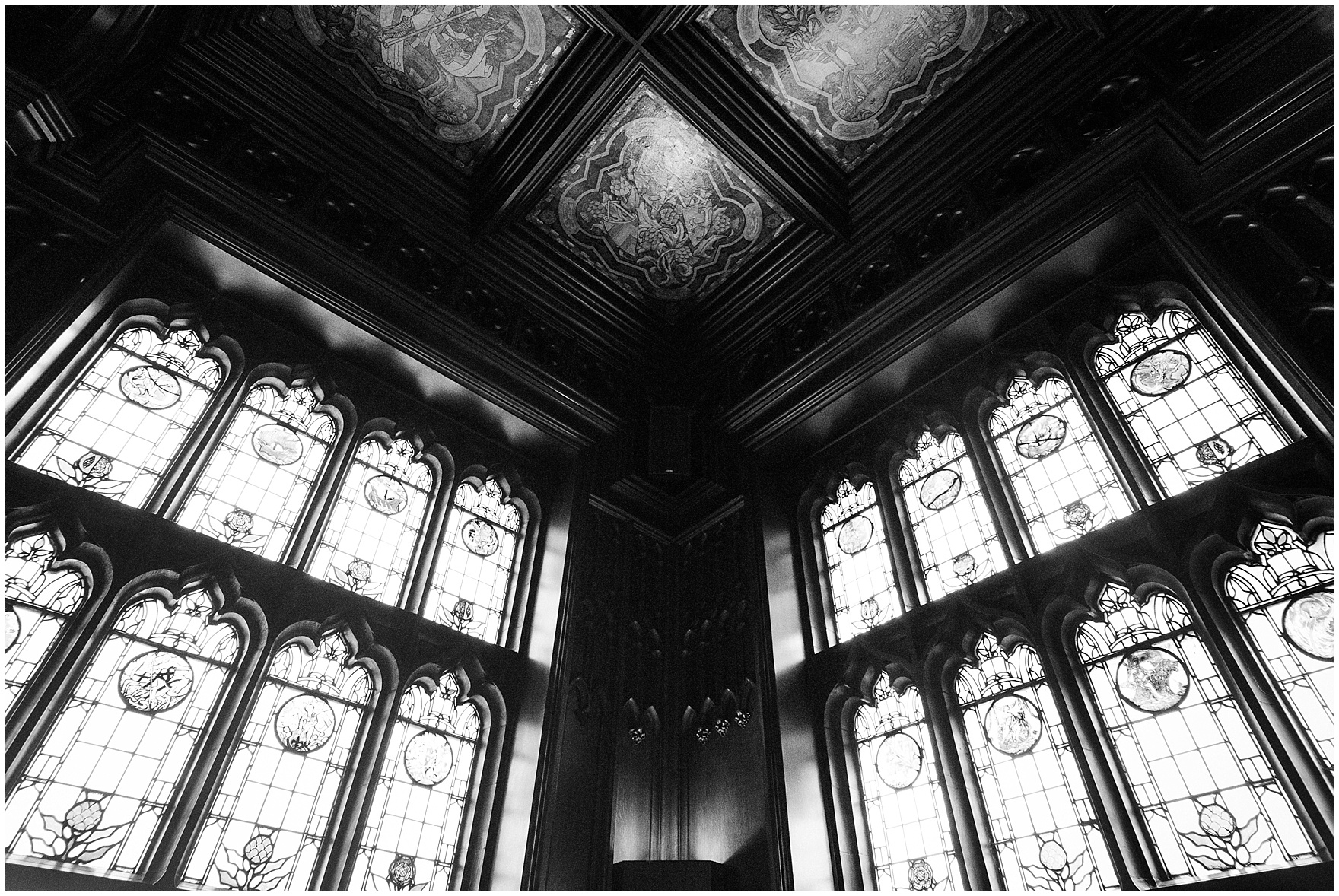 Detail of the windows and ceiling of the Michigan Room for a University Club of Chicago wedding.