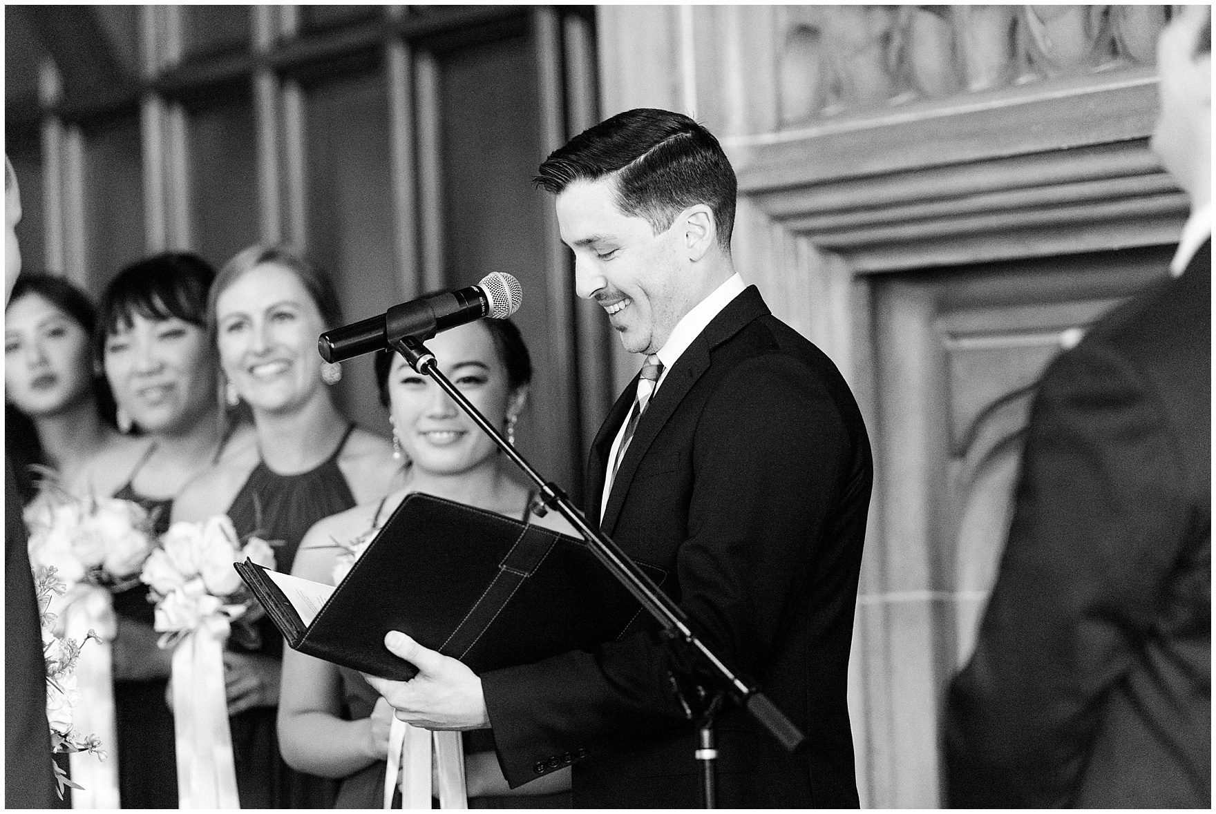 The officiant speaks during a Michigan Room ceremony for a University Club of Chicago wedding.