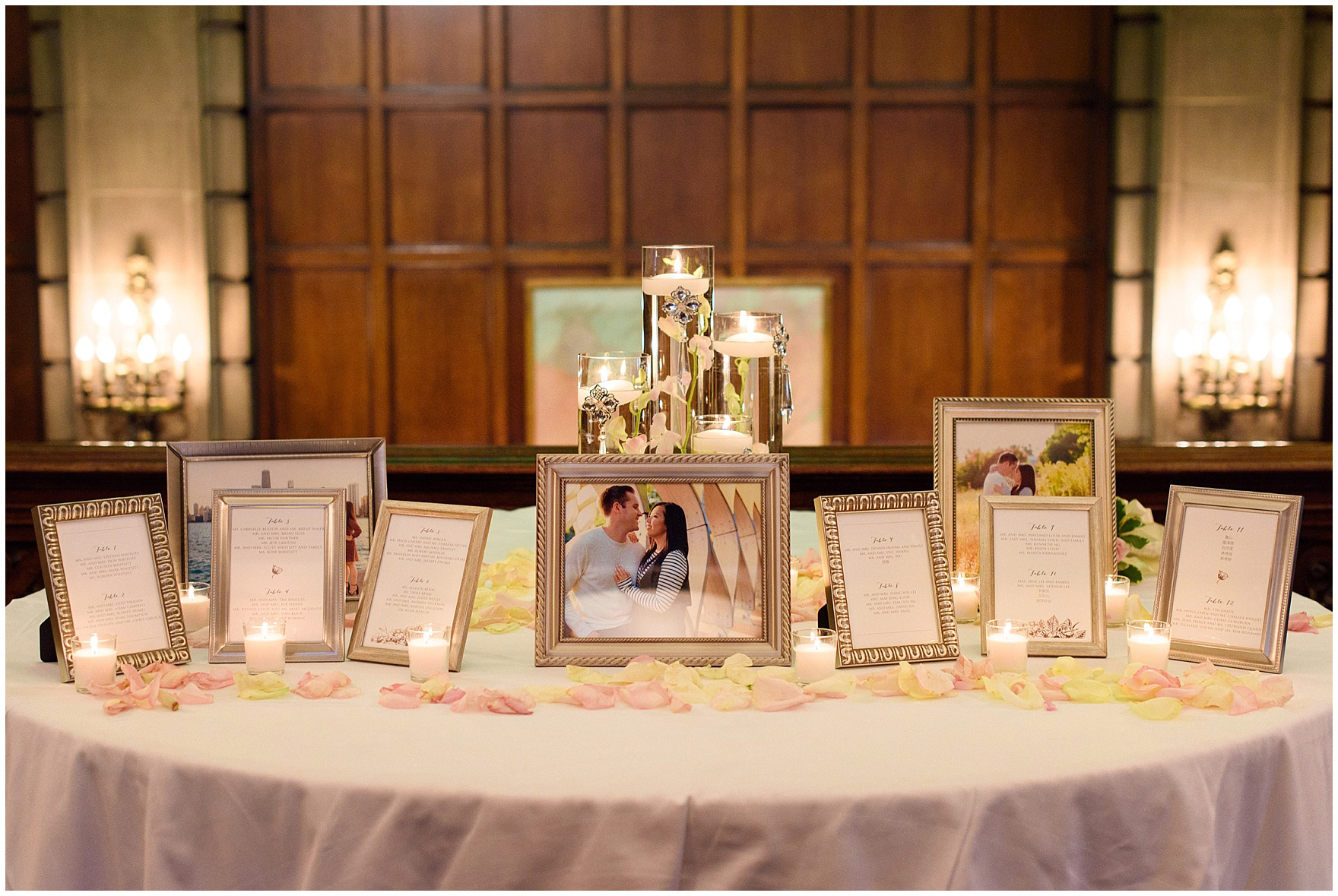 Welcome table and seating charts for a University Club of Chicago wedding.