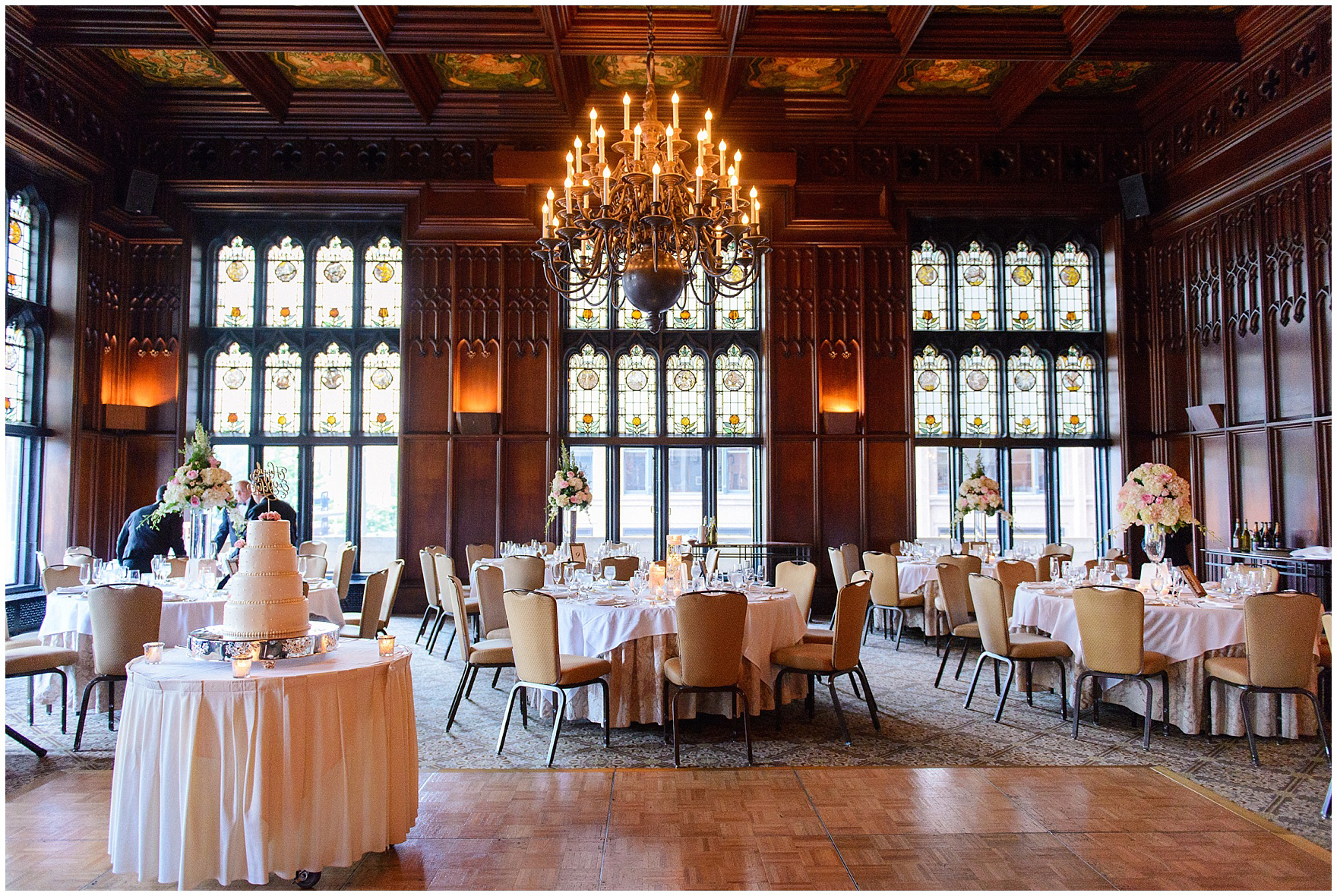The Michigan Room set up for a dinner reception for a University Club of Chicago wedding.