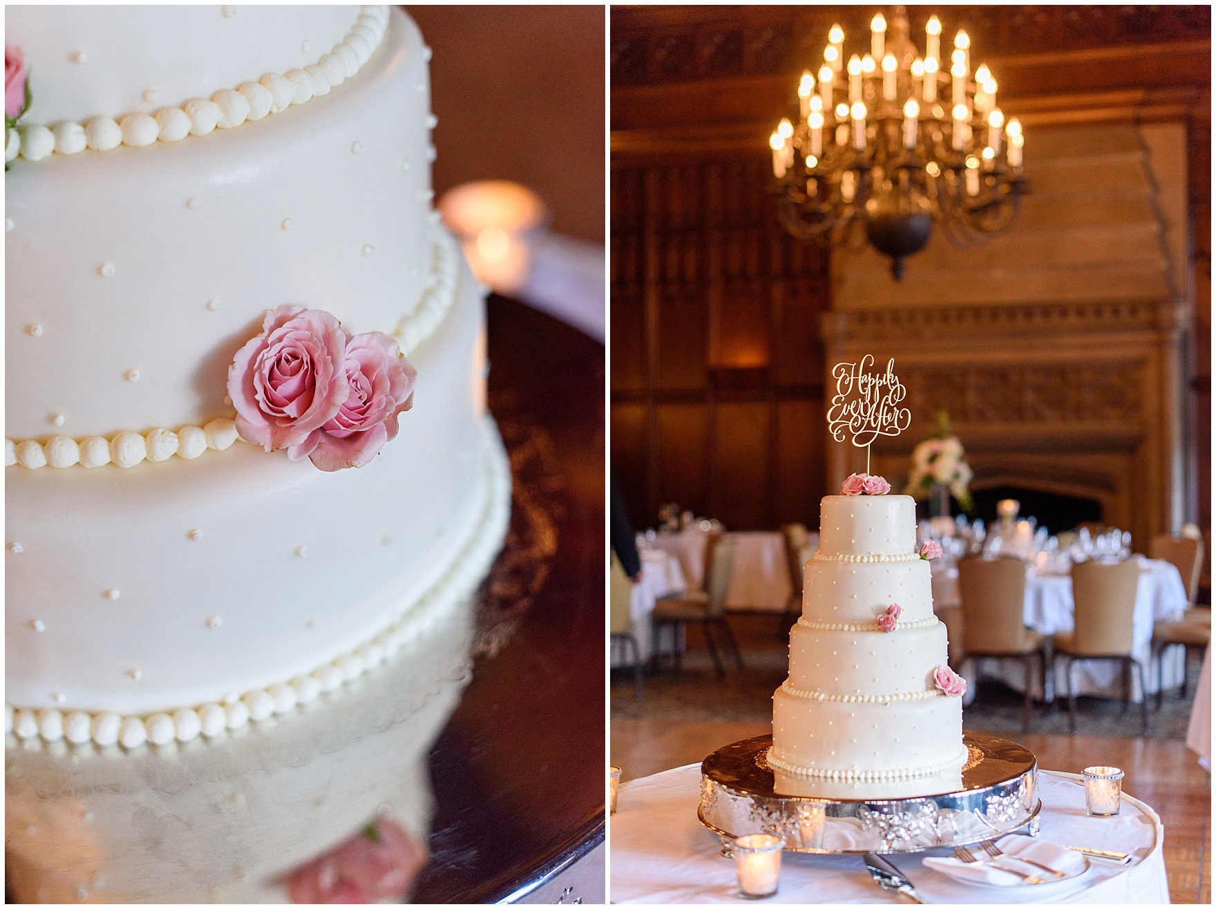 Details of a wedding cake and the Michigan Room set up for a dinner reception for a University Club of Chicago wedding.