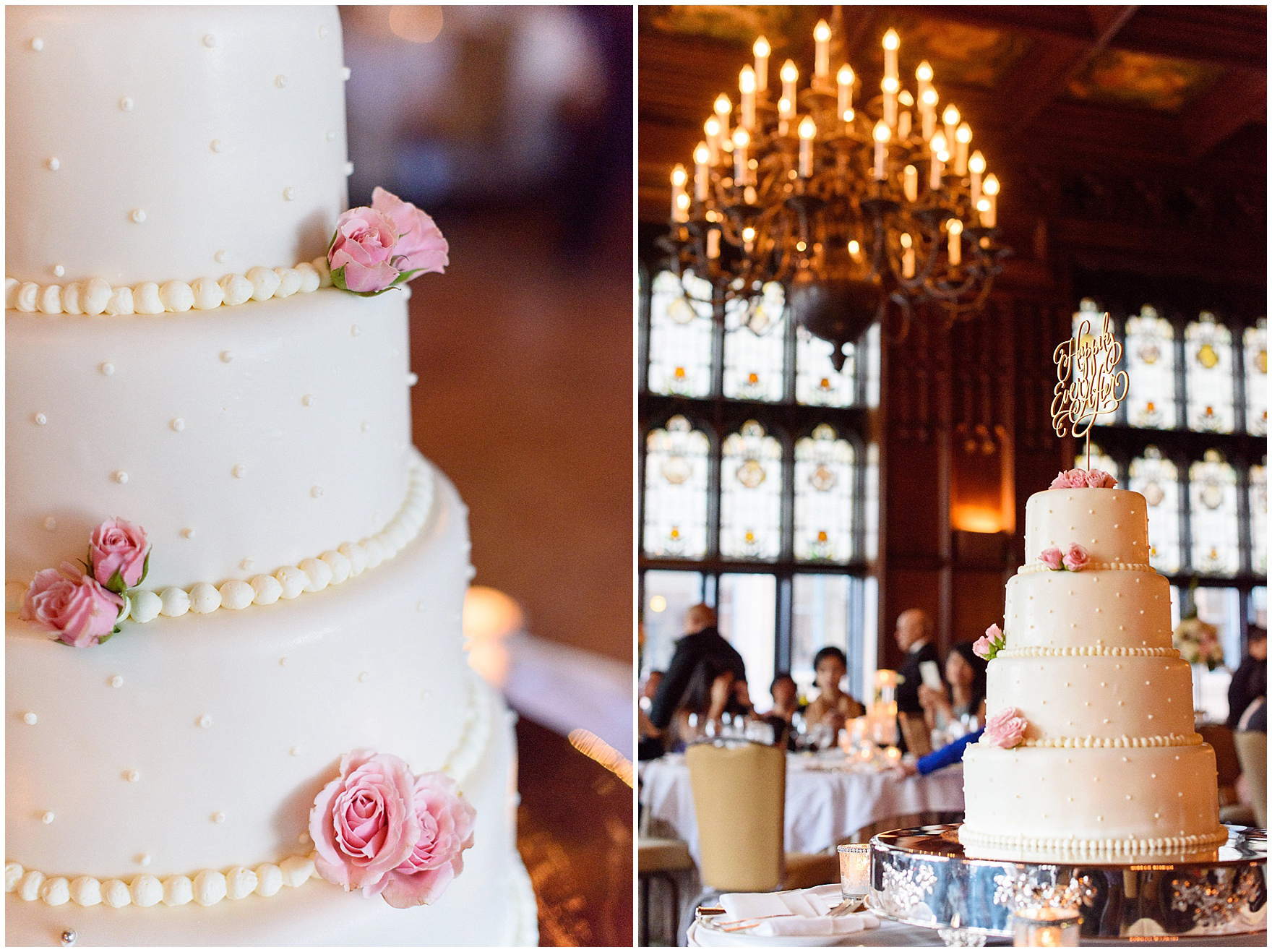 Details of a wedding cake with pink roses and a gold cake topper beneath the chandelier in the Michigan Room set up for a dinner reception for a University Club of Chicago wedding.