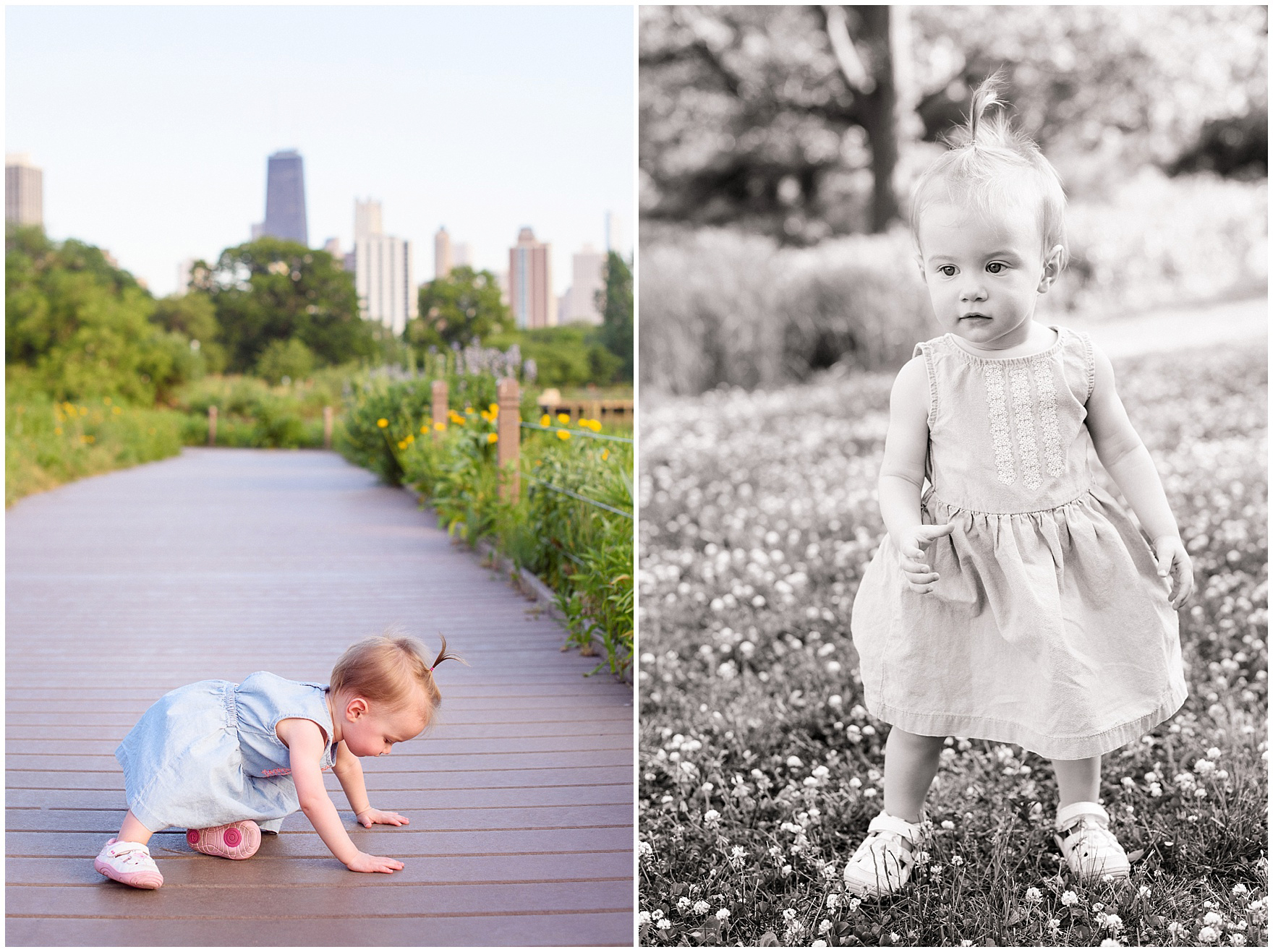 A little girl plays along the Nature Boardwalk during a Chicago Lincoln Park family photography session.