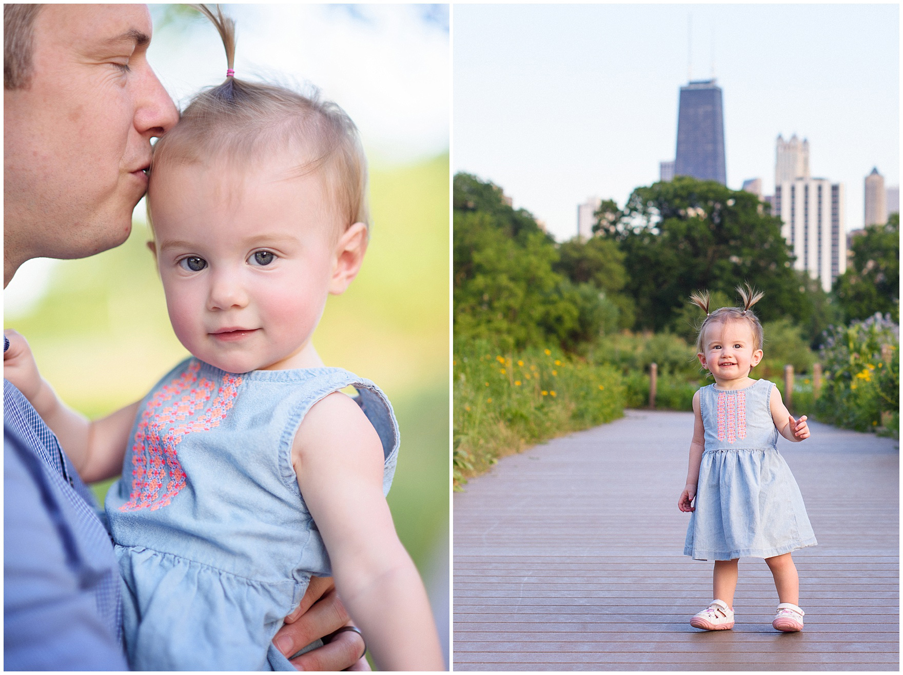 A dad kisses his baby girl during a Chicago Lincoln Park family photography session.