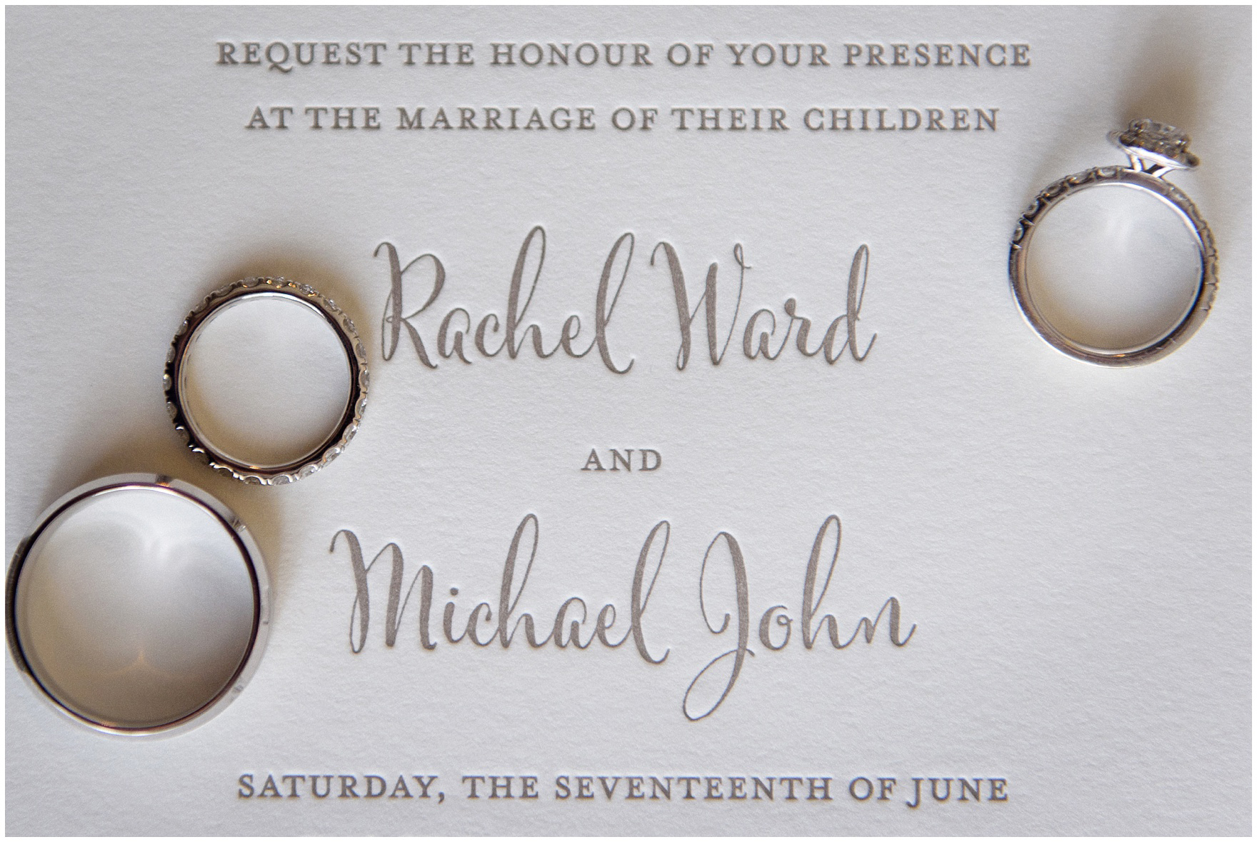 A letterpress invitation detail from an Itasca Country Club Illinois wedding.