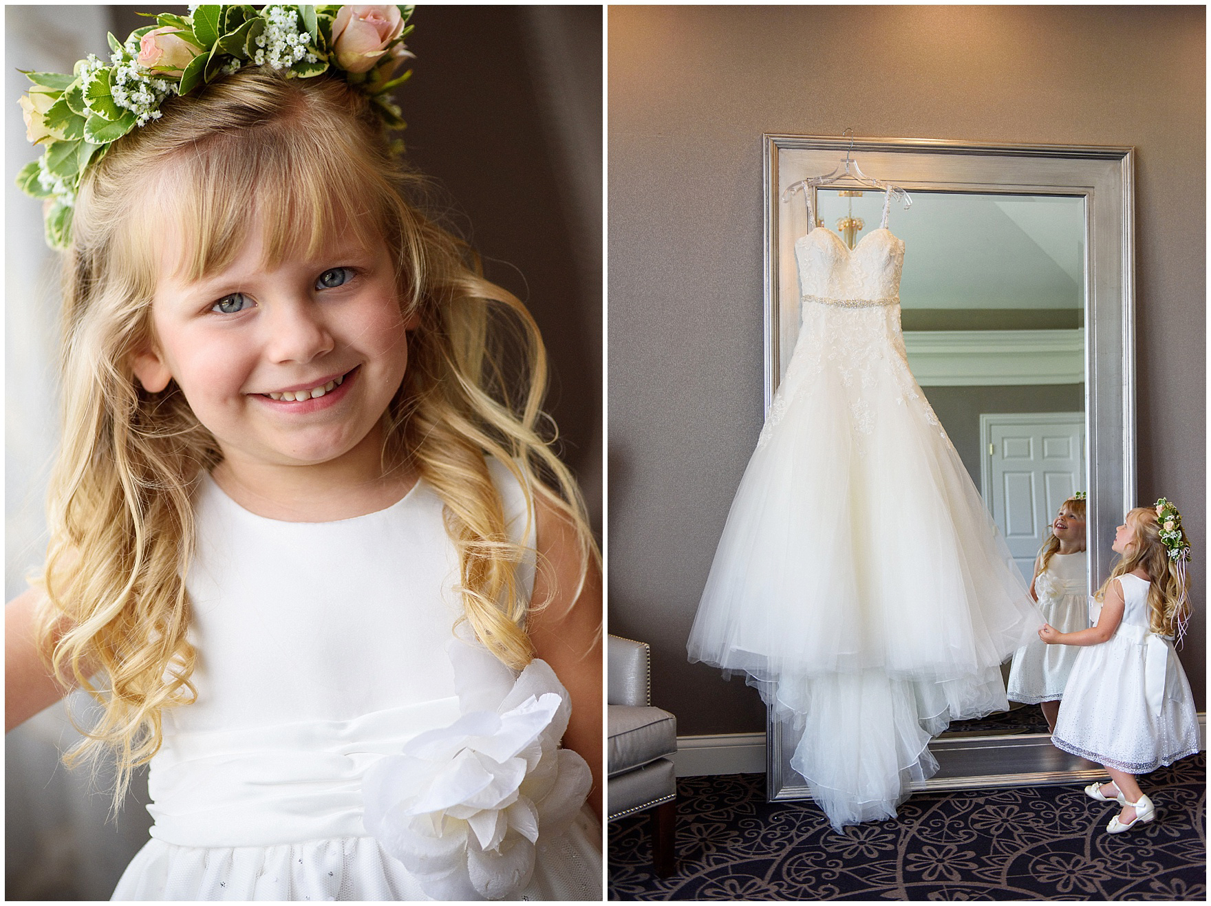 A flower girl with a flower crown looks at the bride's gown for an Itasca Country Club Illinois wedding.
