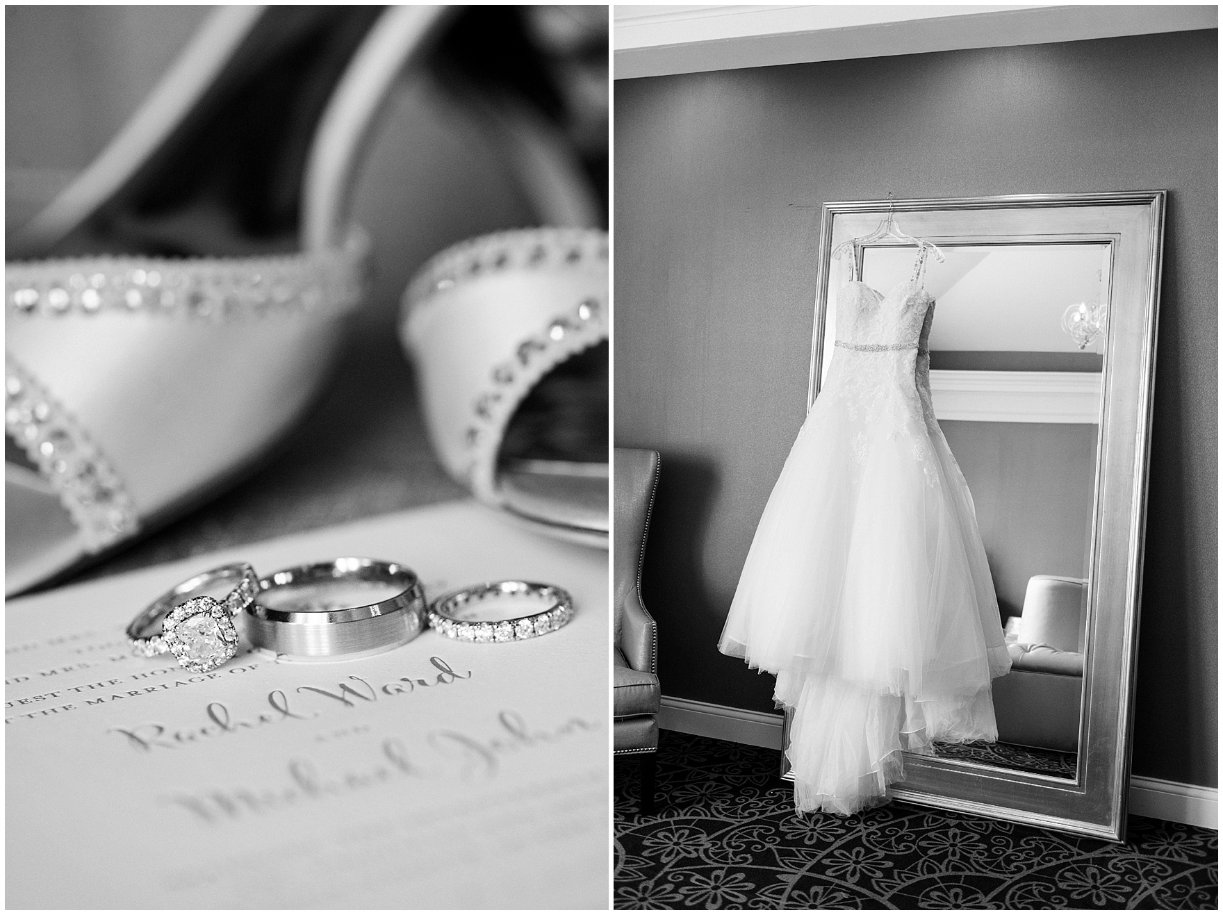 Details of the bride's dress, shoes, invitations, and rings for an Itasca Country Club Illinois wedding.