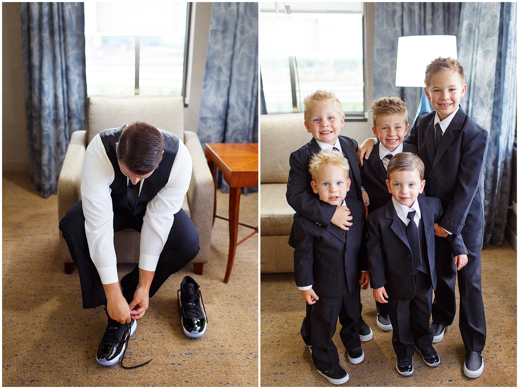 Junior groomsmen and ring bearers get ready for an Itasca Country Club Illinois wedding.