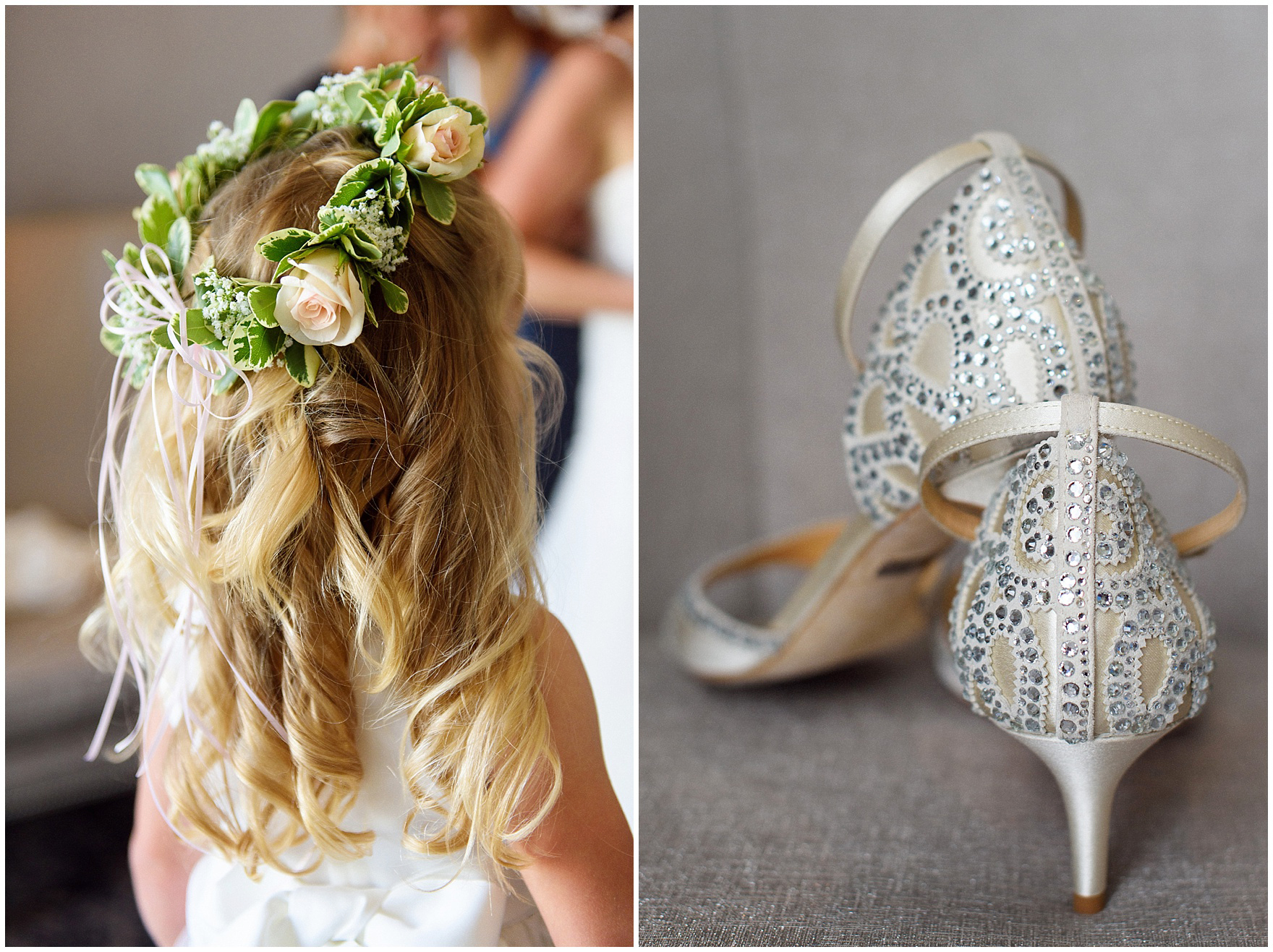 Details of crystal beaded wedding shoes for an Itasca Country Club Illinois wedding.