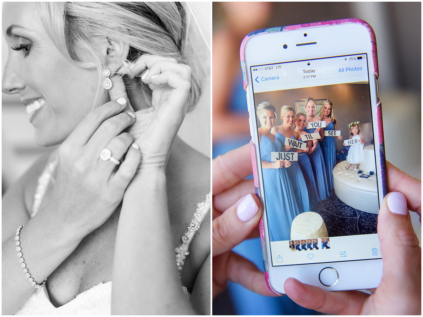 The bridesmaids send a fun text to the groom before an Itasca Country Club Illinois wedding.