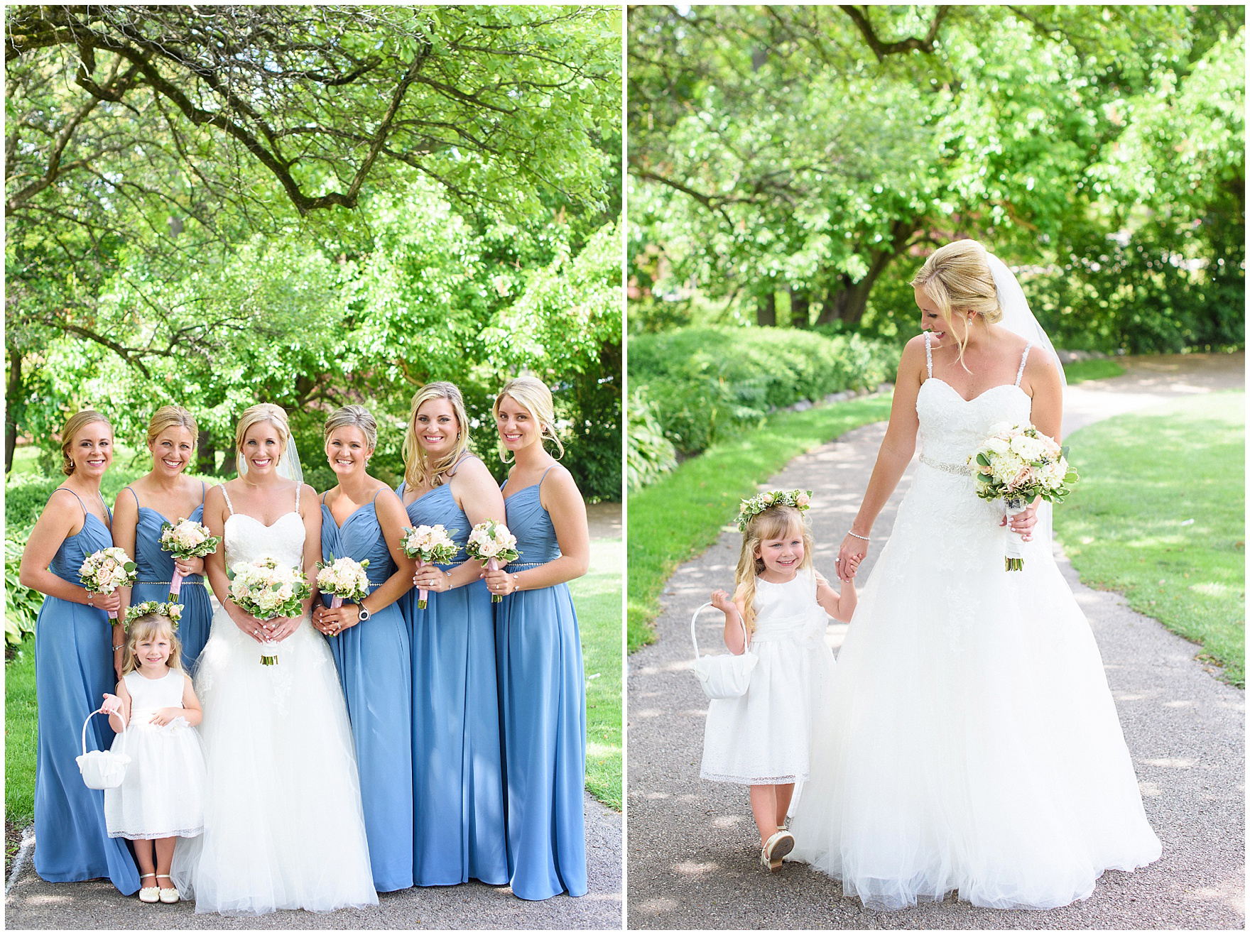 Bridesmaids and flower girl pose with the bride for an Itasca Country Club Illinois wedding.