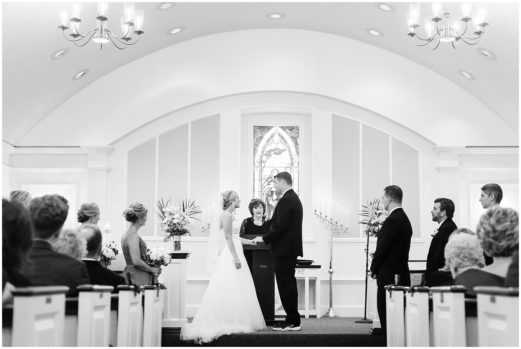 The bride and groom say their vows at the First Presbyterian Church of Itasca during their Itasca Country Club Illinois wedding.