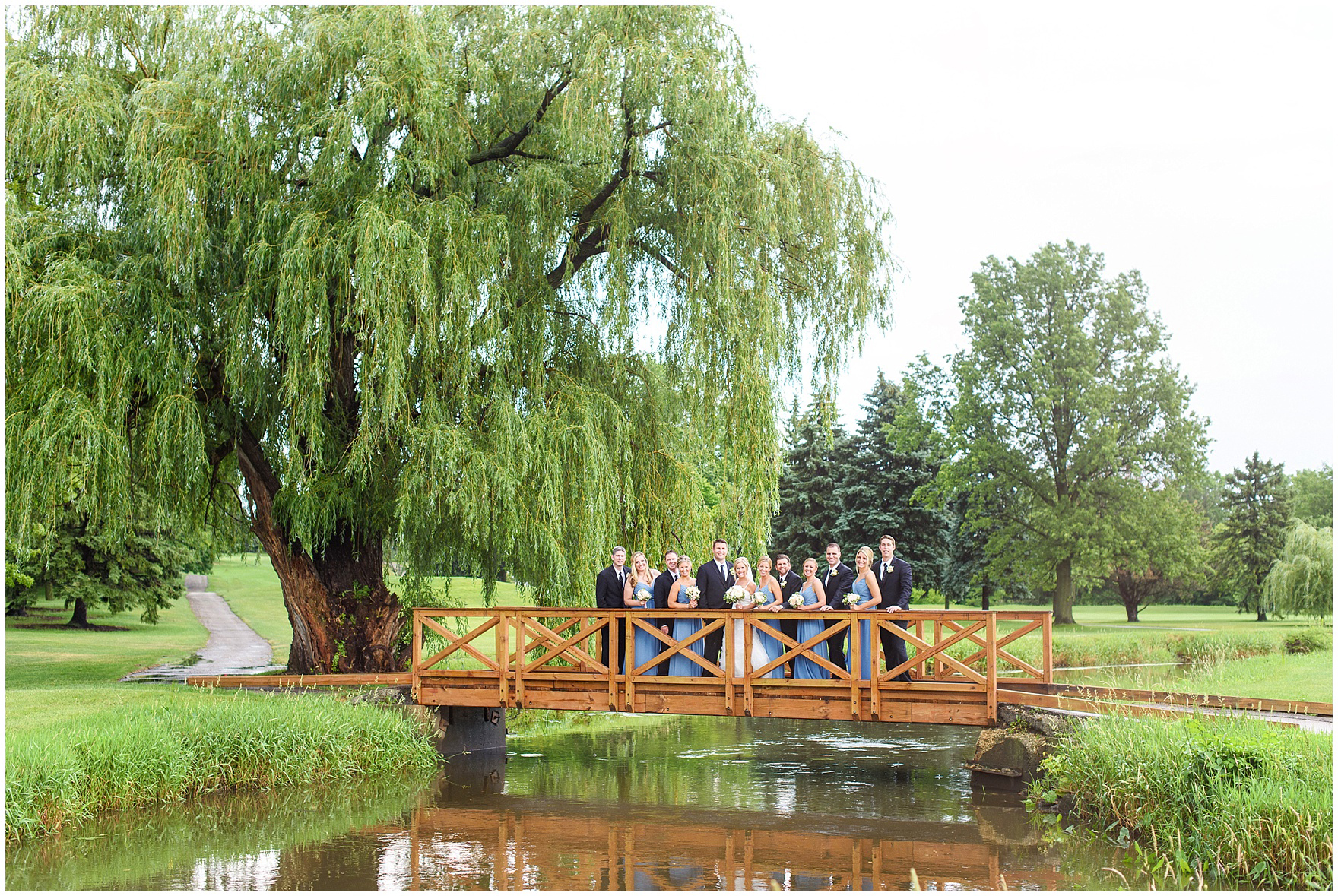 A bridal party poses near a willow tree at an Itasca Country Club Illinois wedding.
