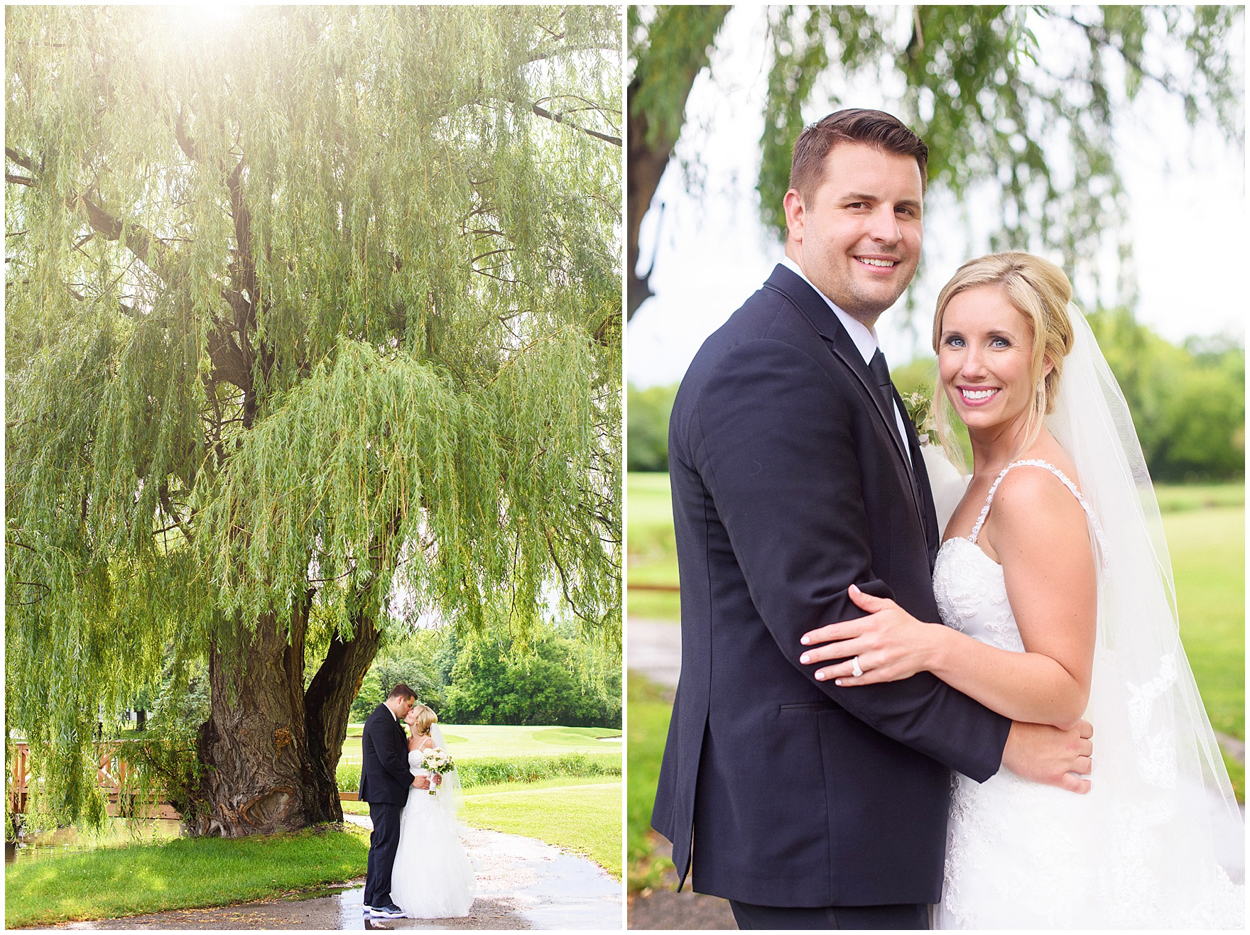 A bride and groom smile during their Itasca Country Club Illinois wedding.