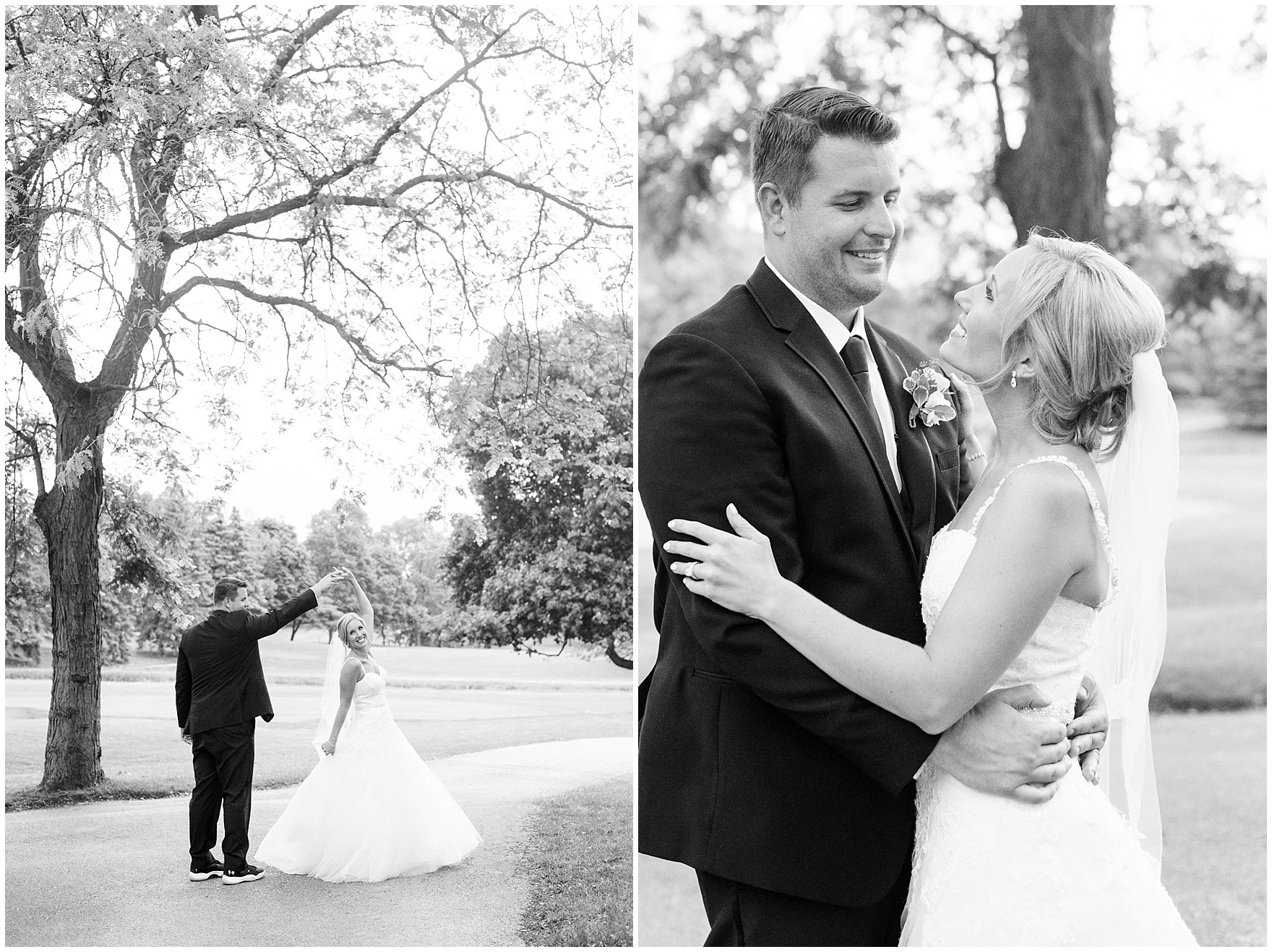 A bride and groom dance and laugh during their Itasca Country Club Illinois wedding.