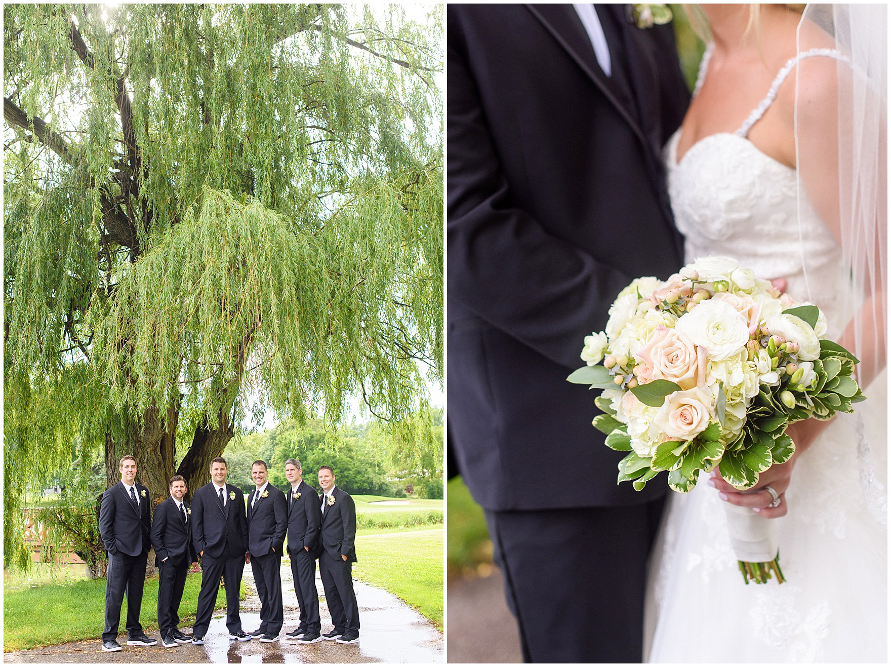 Portraits under a massive willow tree during an Itasca Country Club Illinois wedding.