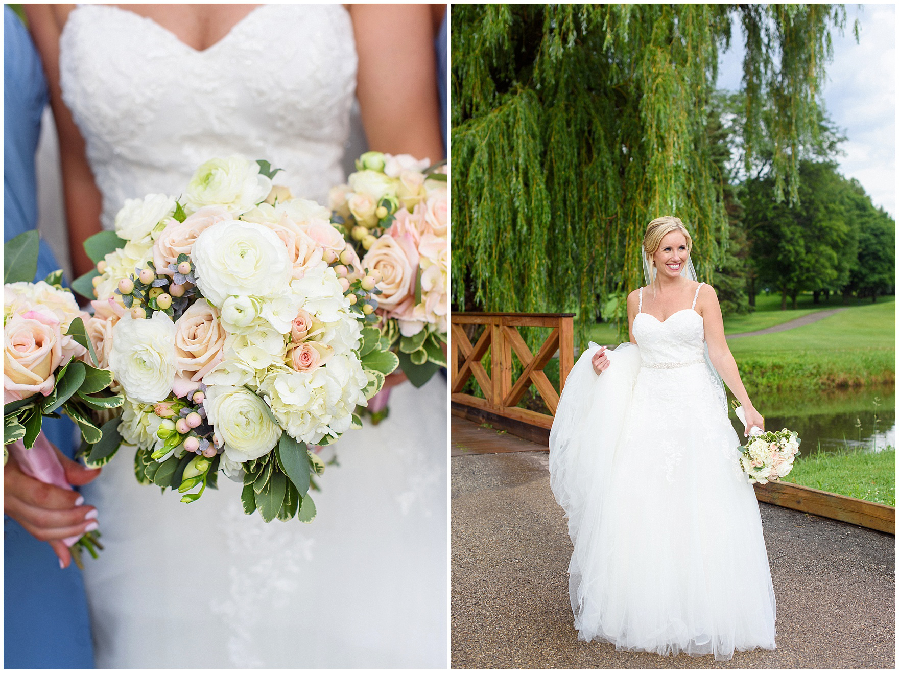 A bride smiles at her Itasca Country Club Illinois wedding.