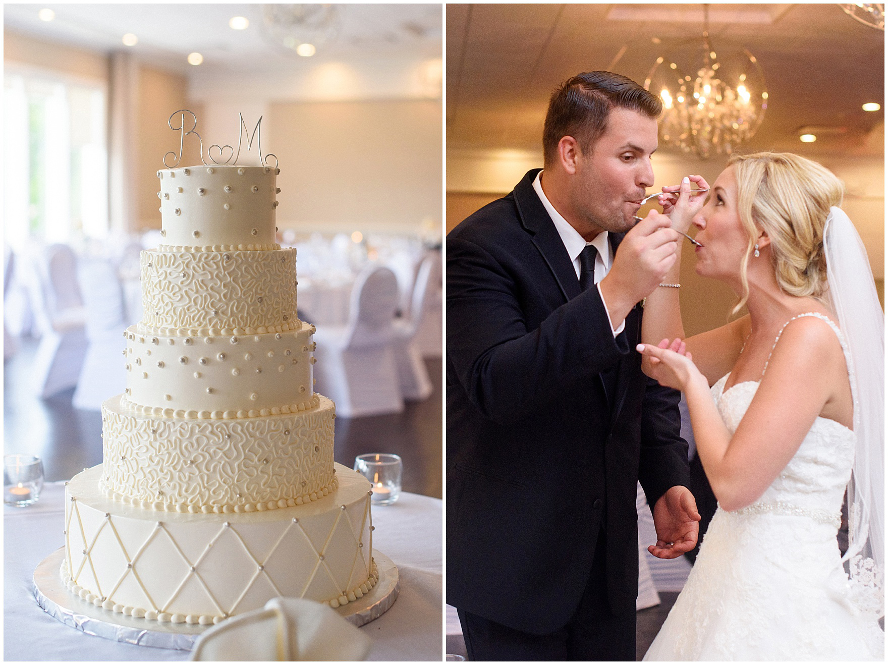 The bride and groom sample their wedding cake by Oak Mills Bakery at an Itasca Country Club Illinois wedding.