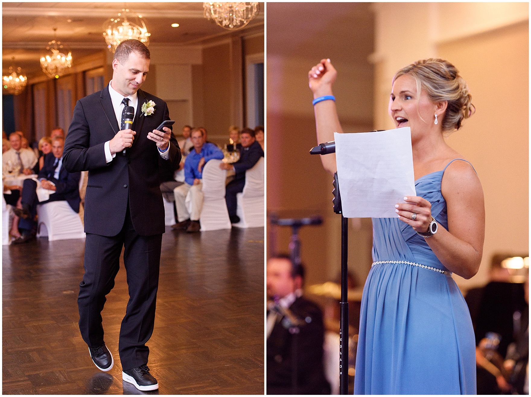 The best man and maid of honor make a toast at an Itasca Country Club Illinois wedding.