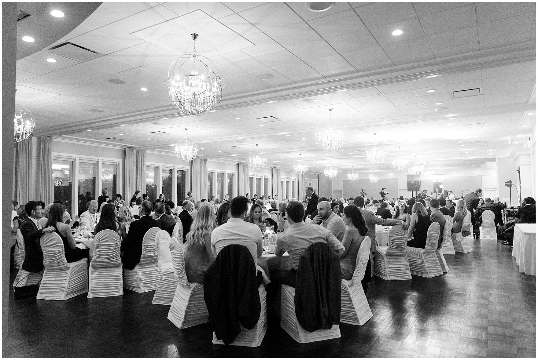 The ballroom is set up for an Itasca Country Club Illinois wedding.
