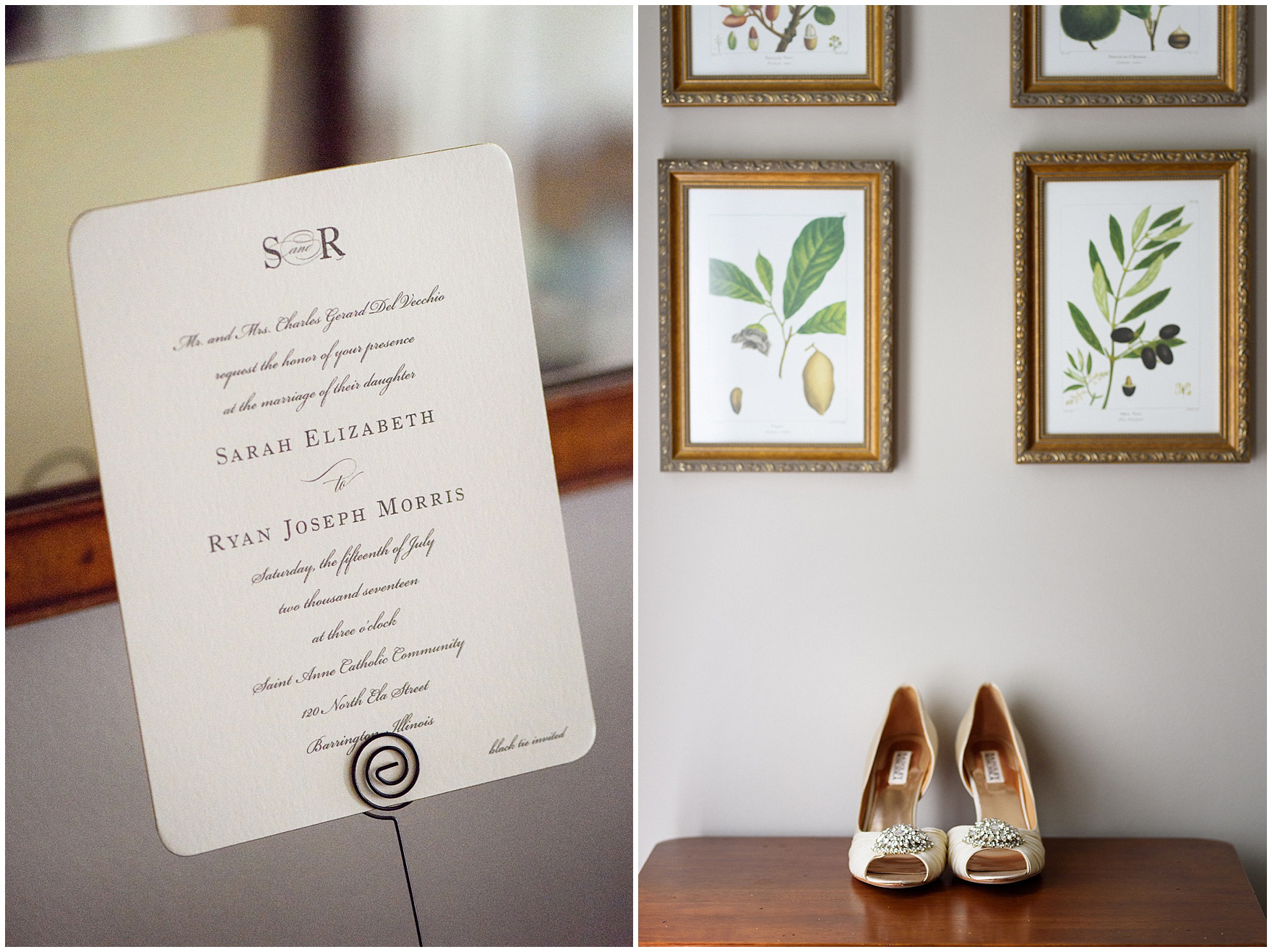 Details of a wedding invitation and bridal shoes photographed the foyer of a classic home before a Biltmore Country Club Barrington wedding.