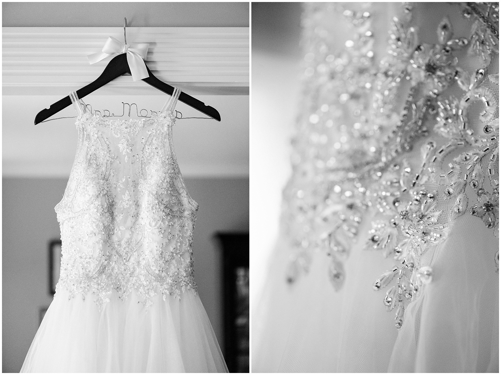 Details of beaded wedding dress hanging in the foyer of a classic home before a Biltmore Country Club Barrington wedding.