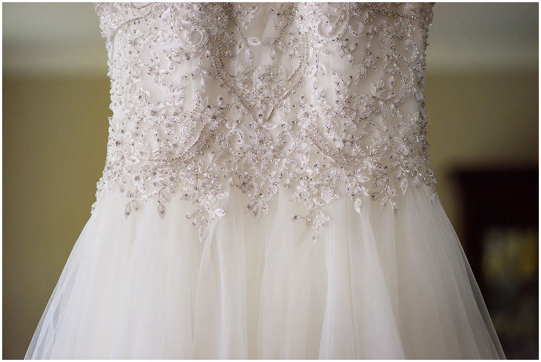 Details of a beaded wedding gown before a Biltmore Country Club Barrington wedding.