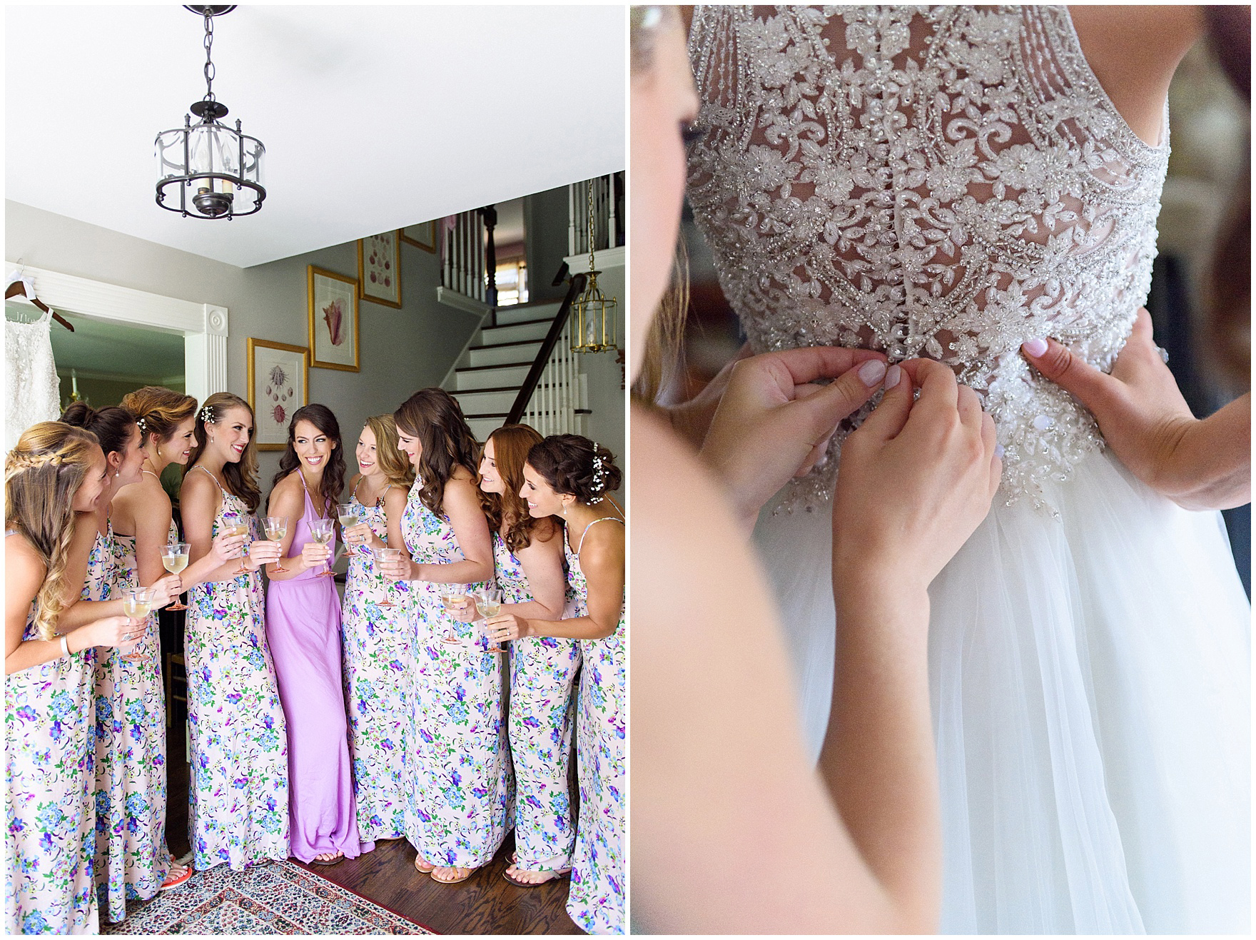 A group of bridesmaids has a champagne toast before a Biltmore Country Club Barrington wedding.