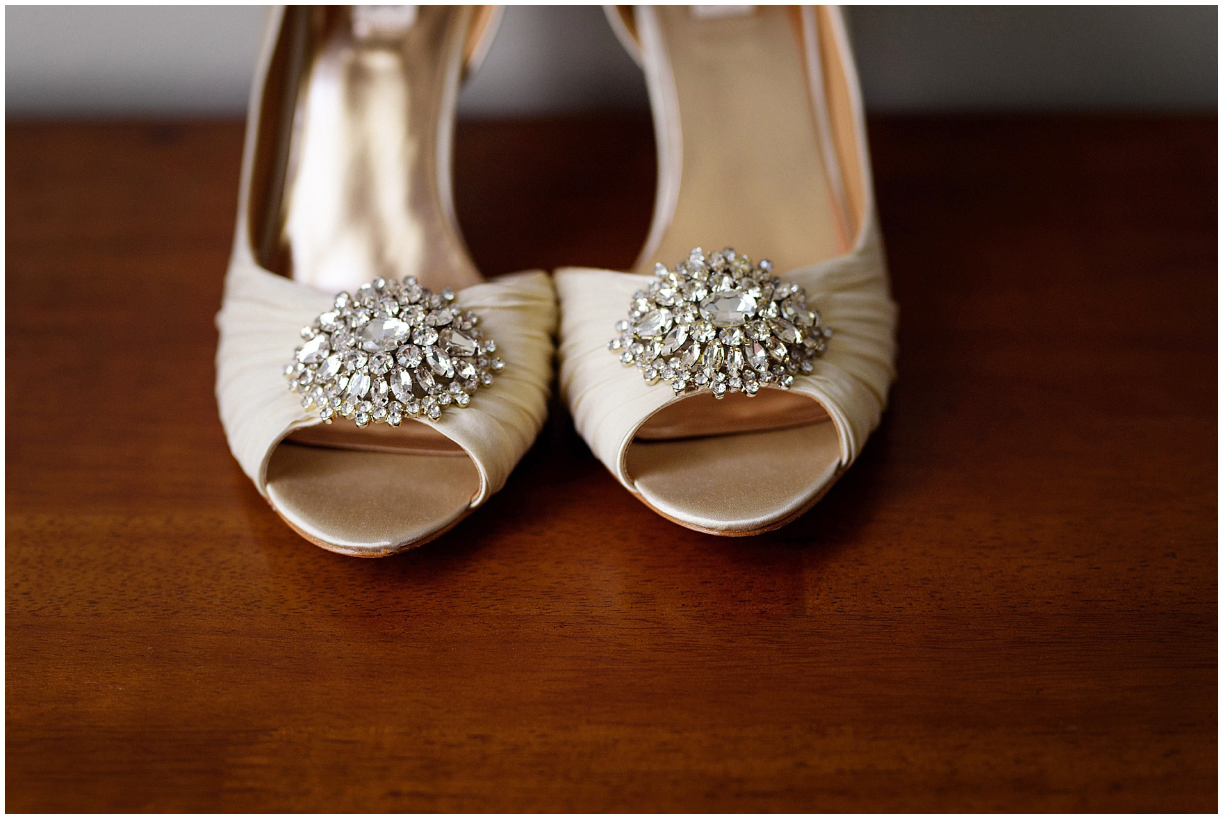 Details of jeweled D'Orsay evening shoes by Badgley Mischka before a Biltmore Country Club Barrington wedding.