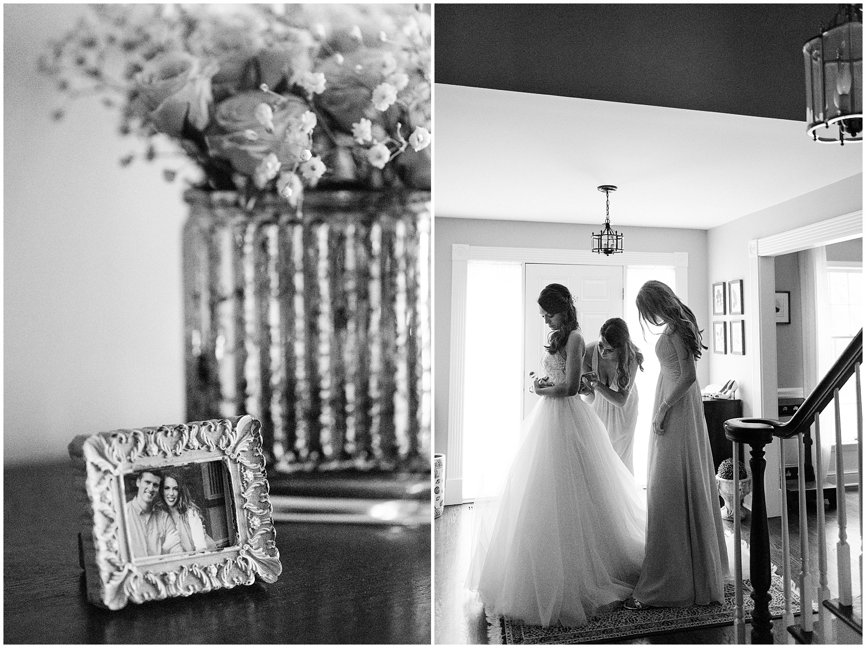 The bride gets ready at home before a Biltmore Country Club Barrington wedding.