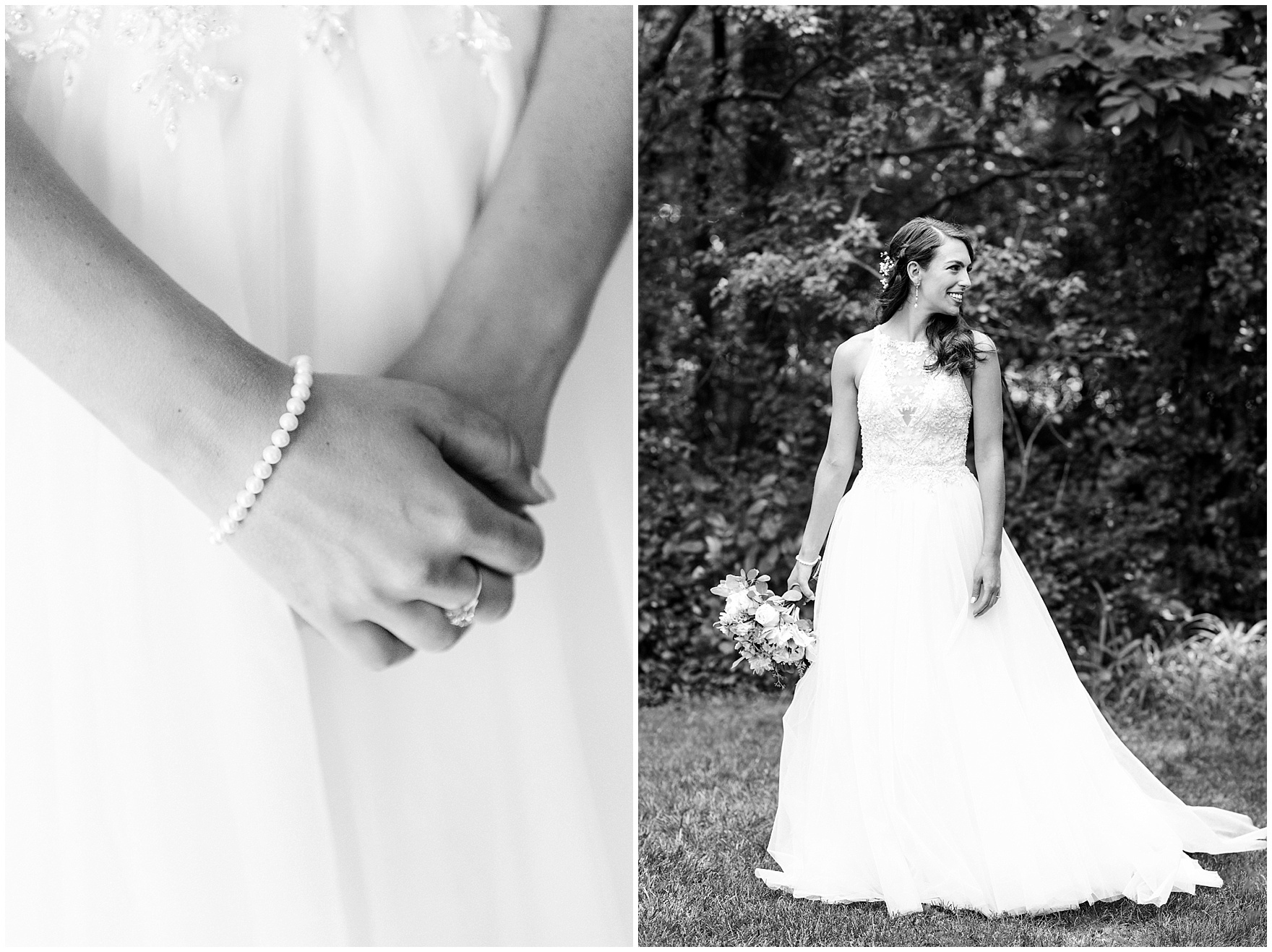 A black and white portrait of a bride in a Maggie Sottero dress before a Biltmore Country Club Barrington wedding.