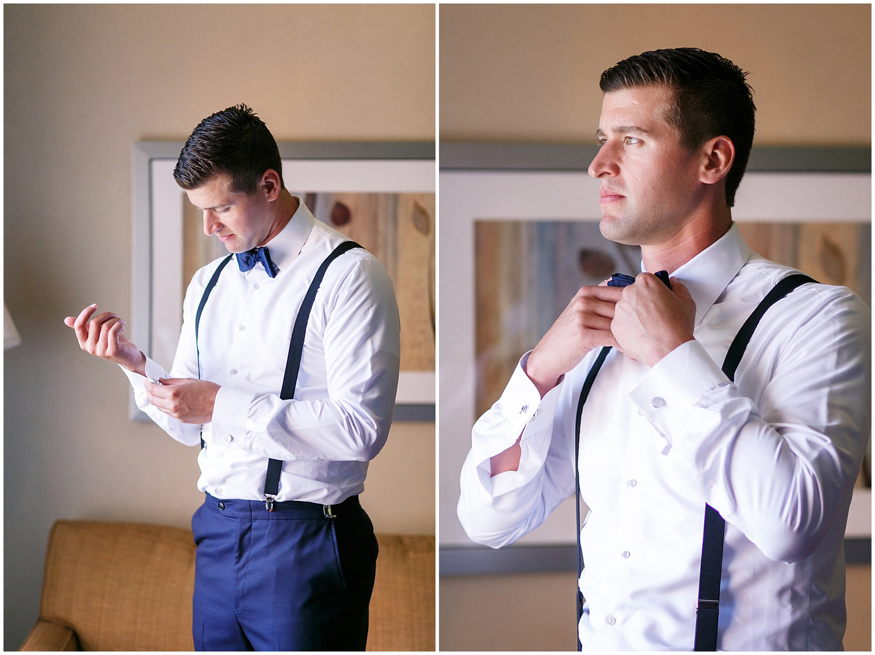 The groom in bow tie and suspenders gets ready for a Biltmore Country Club Barrington wedding.