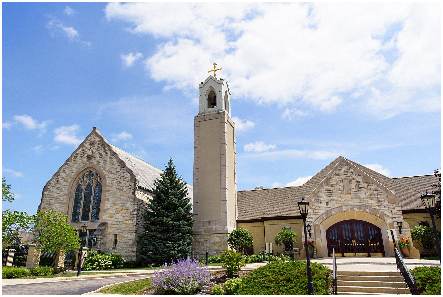 Exterior photo of St. Anne's Catholic Community church, ceremony site for a Biltmore Country Club Barrington wedding.