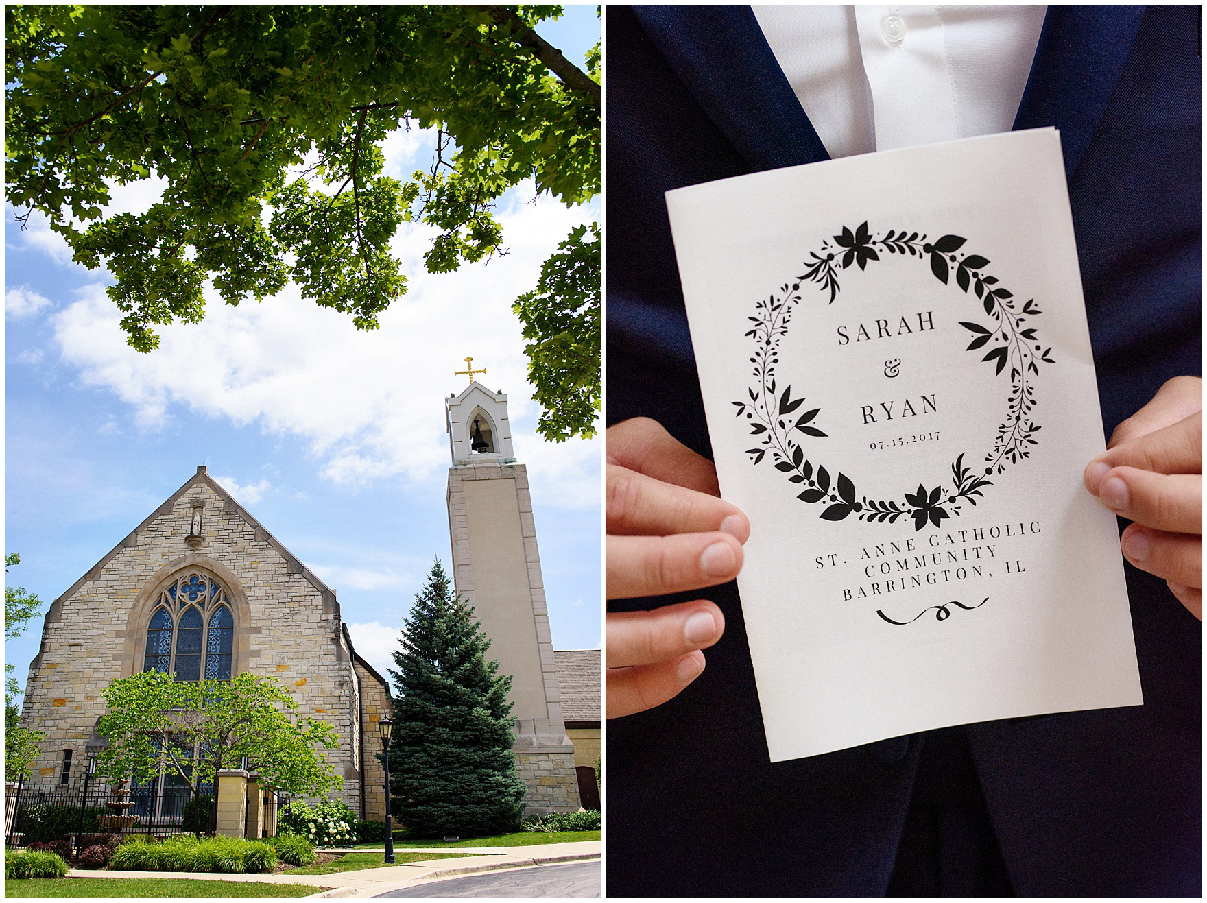 Exterior of St. Anne's Catholic Community and a detail of the wedding program for a Biltmore Country Club Barrington wedding.
