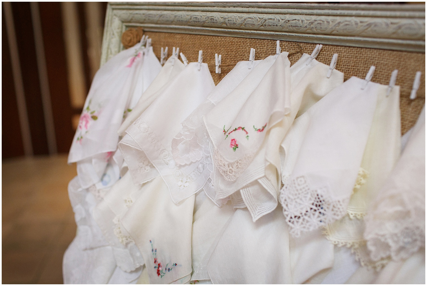 Vintage handkerchiefs are provided to guests during the ceremony at St. Anne's Catholic Community, for a Biltmore Country Club Barrington wedding.