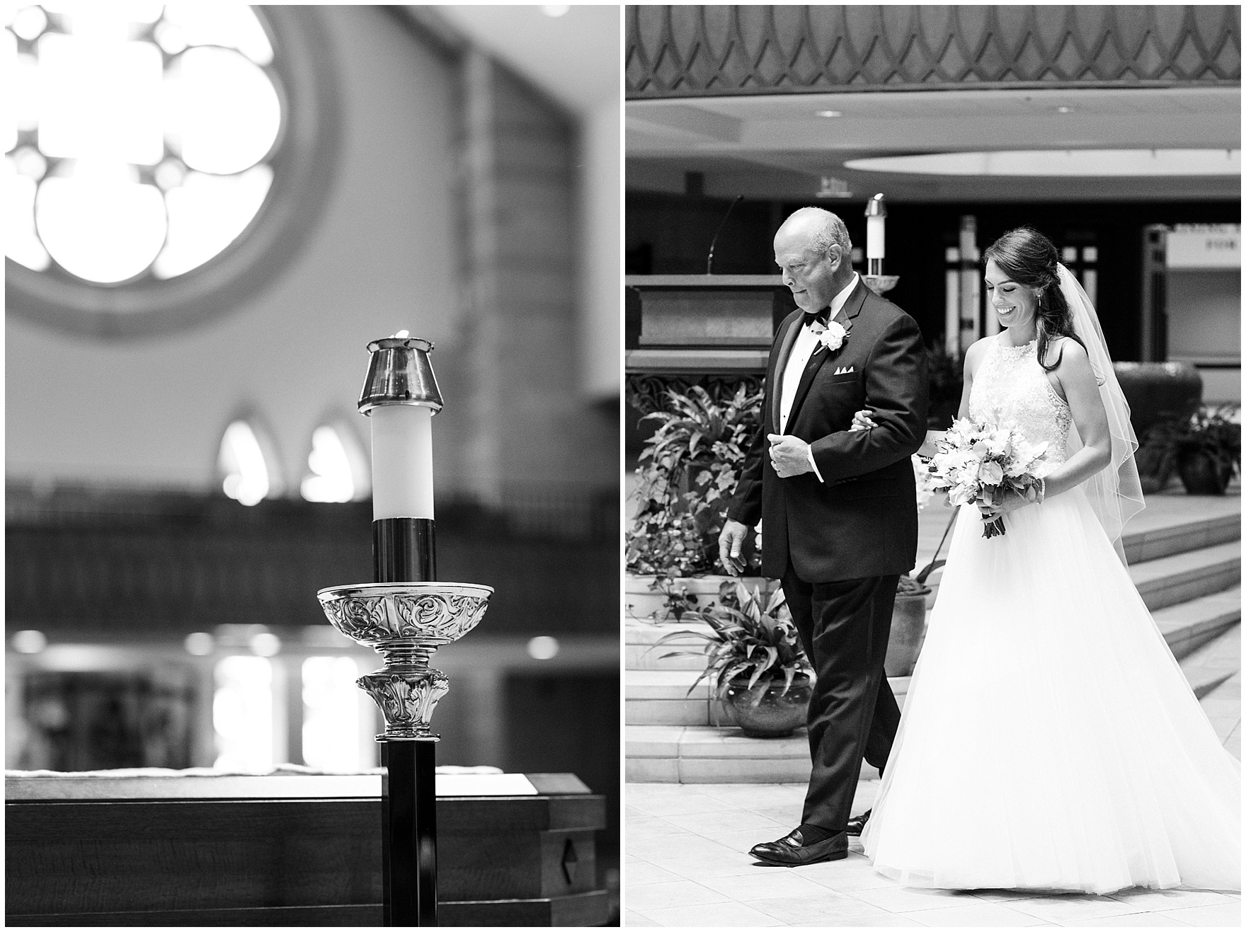 The bride walks down the aisle with her father during the ceremony at St. Anne's Catholic Community, for a Biltmore Country Club Barrington wedding.