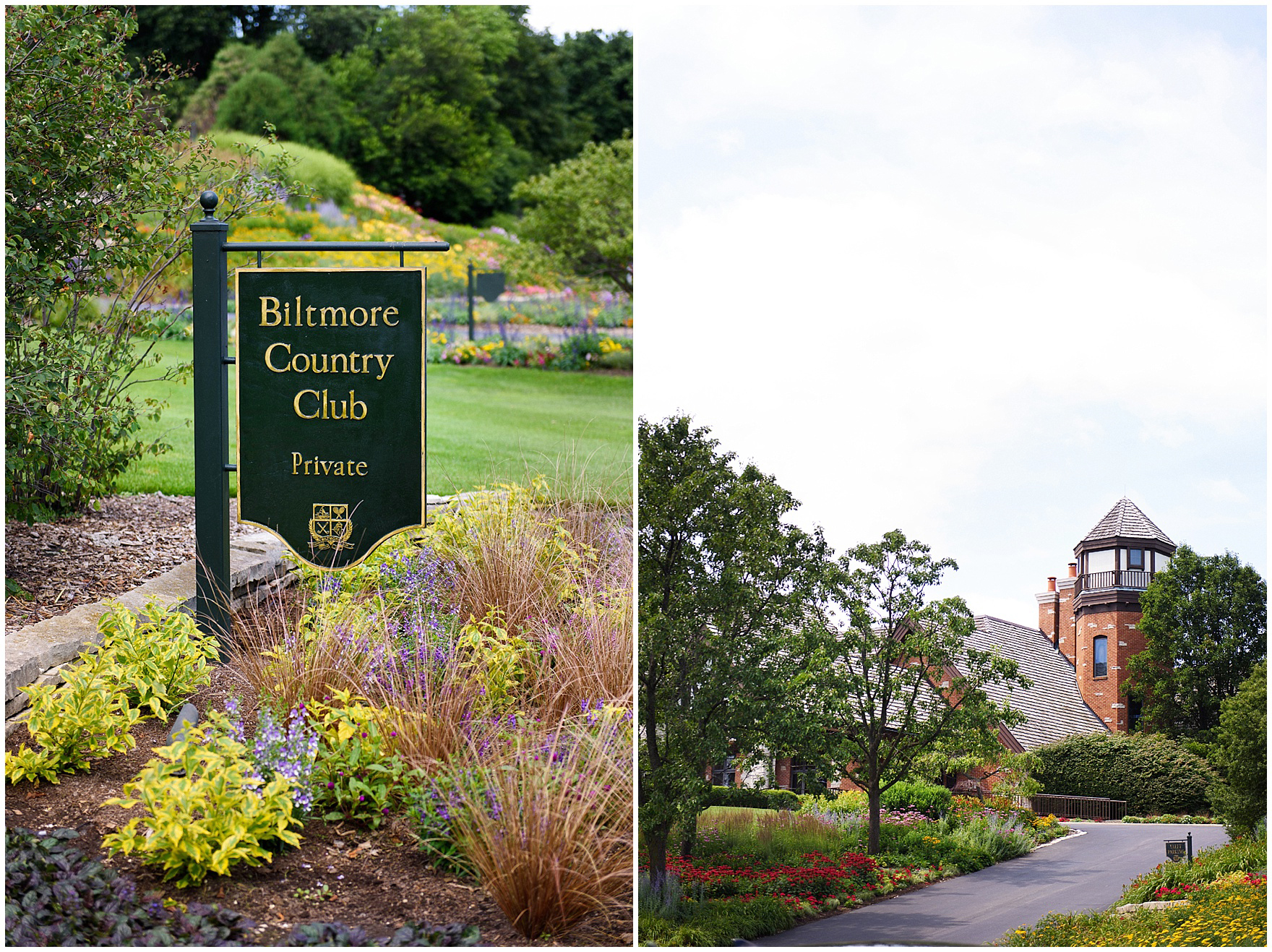 Details of the club sign and entrance for a Biltmore Country Club Barrington wedding.