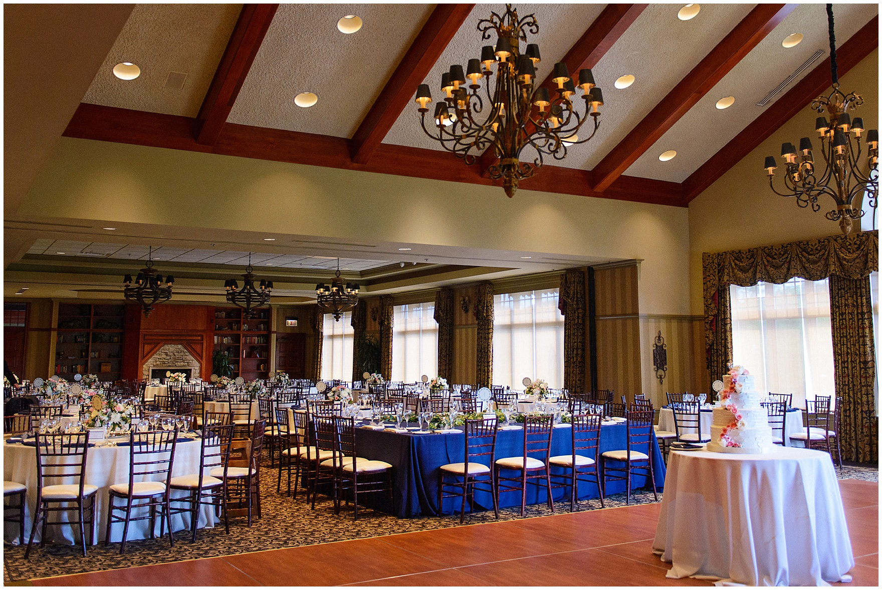 The reception room is set up for a Biltmore Country Club Barrington wedding.