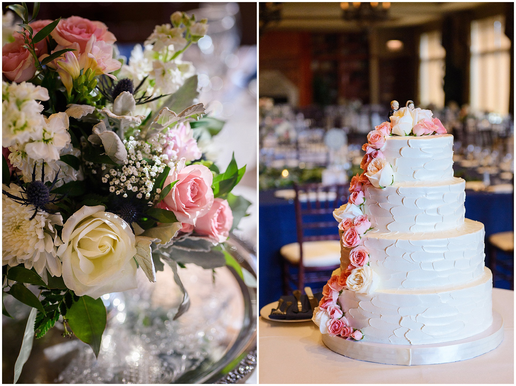 A tiered wedding cake with pink roses by Lovin Oven for a Biltmore Country Club Barrington wedding.