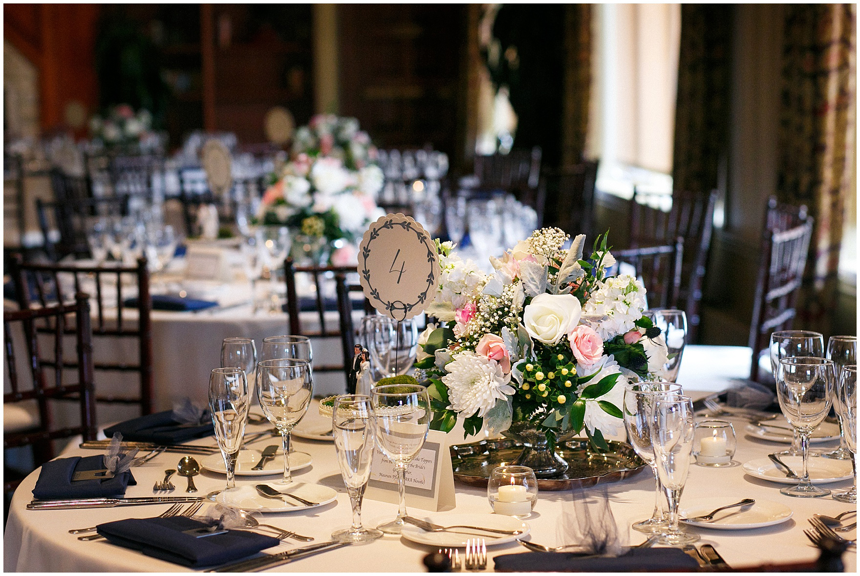 Centerpieces by Countryside Flower Shop a Biltmore Country Club Barrington wedding.