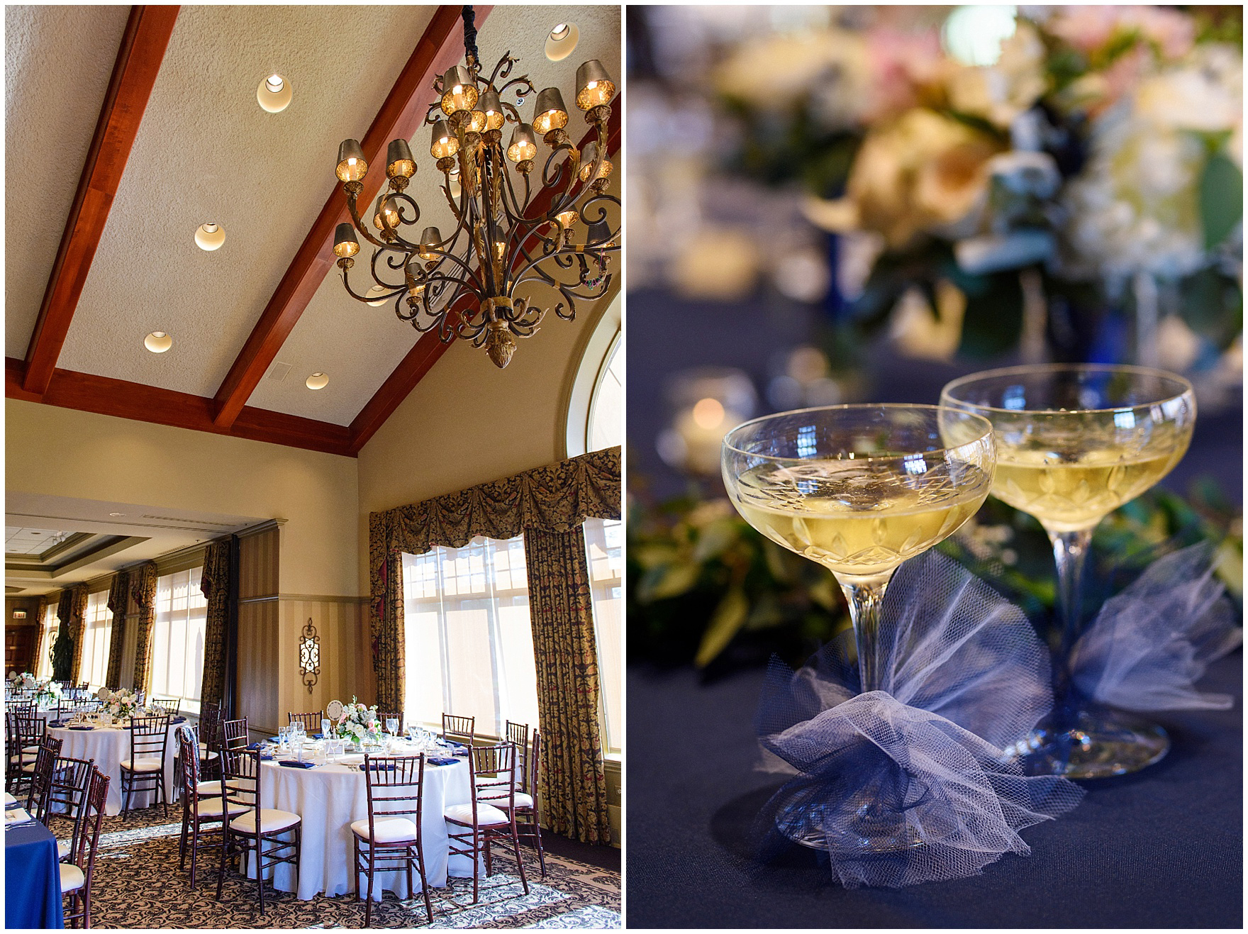 Details of the reception room set up for a Biltmore Country Club Barrington wedding.