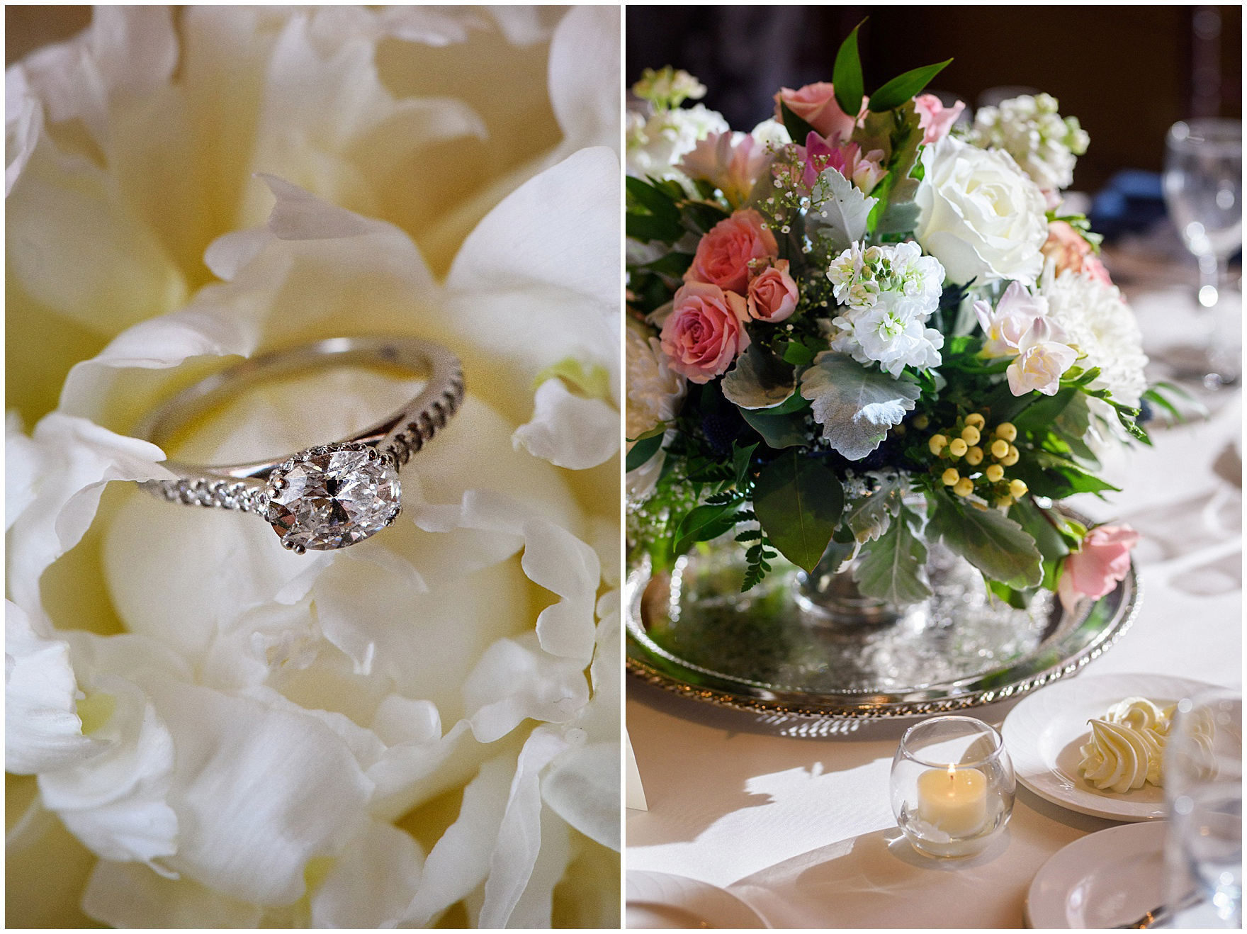 Details of a diamond engagement ring and centerpieces with pink and white roses for a Biltmore Country Club Barrington wedding.