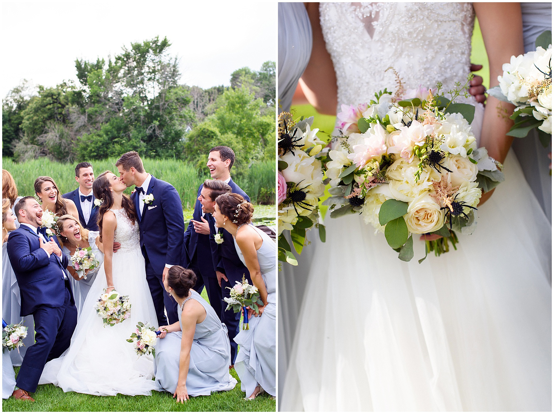 Details of a bridal bouquet by Countryside Flower Shop during a Biltmore Country Club Barrington wedding.